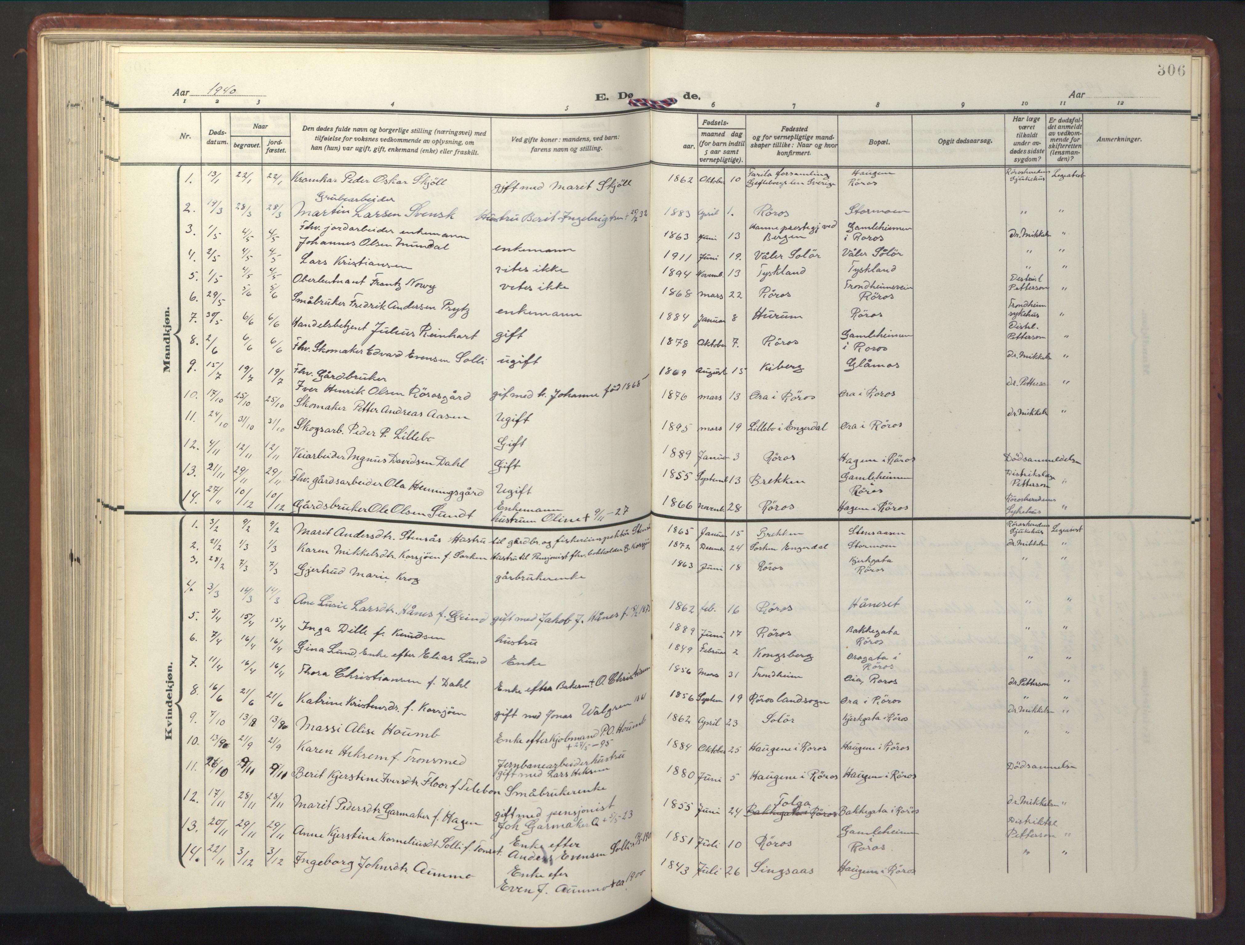 SAT, Ministerialprotokoller, klokkerbøker og fødselsregistre - Sør-Trøndelag, 681/L0943: Klokkerbok nr. 681C07, 1926-1954, s. 306