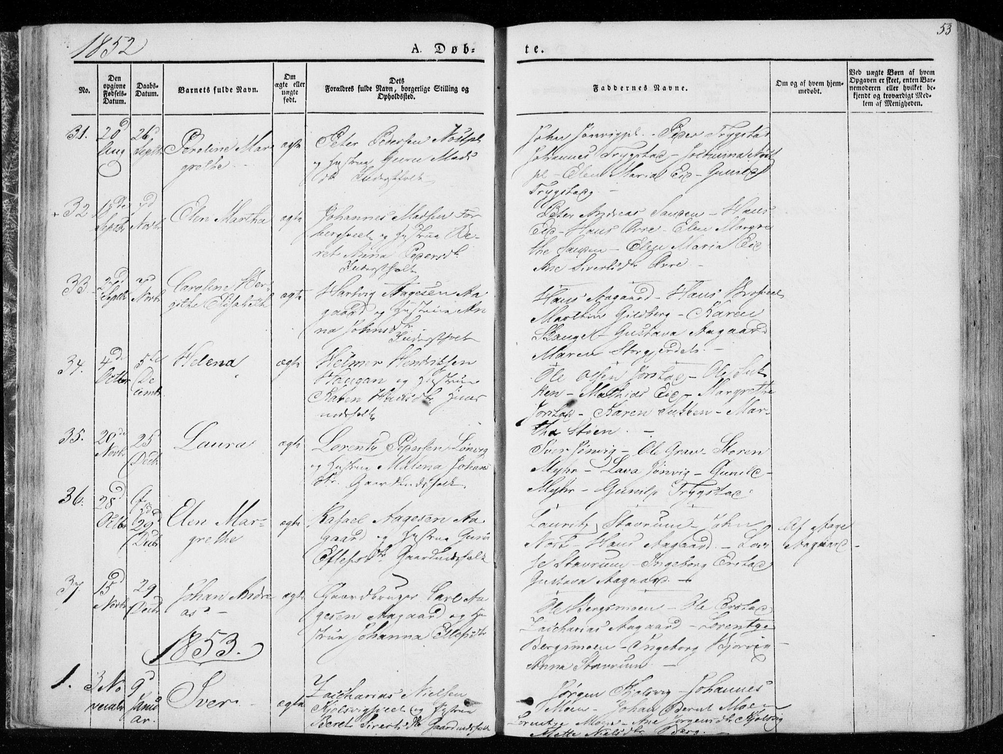 SAT, Ministerialprotokoller, klokkerbøker og fødselsregistre - Nord-Trøndelag, 722/L0218: Ministerialbok nr. 722A05, 1843-1868, s. 53