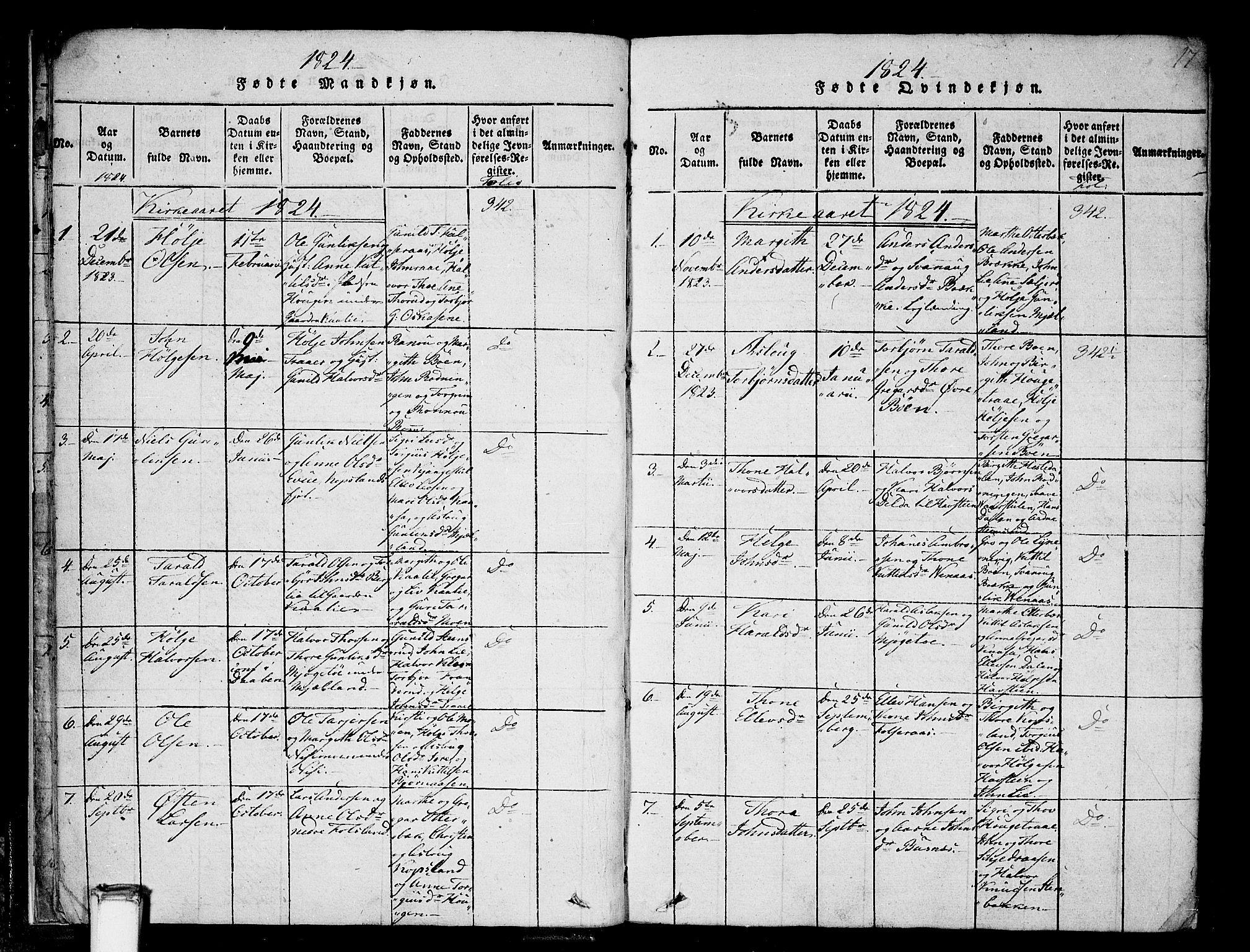 SAKO, Gransherad kirkebøker, F/Fa/L0001: Ministerialbok nr. I 1, 1815-1843, s. 17