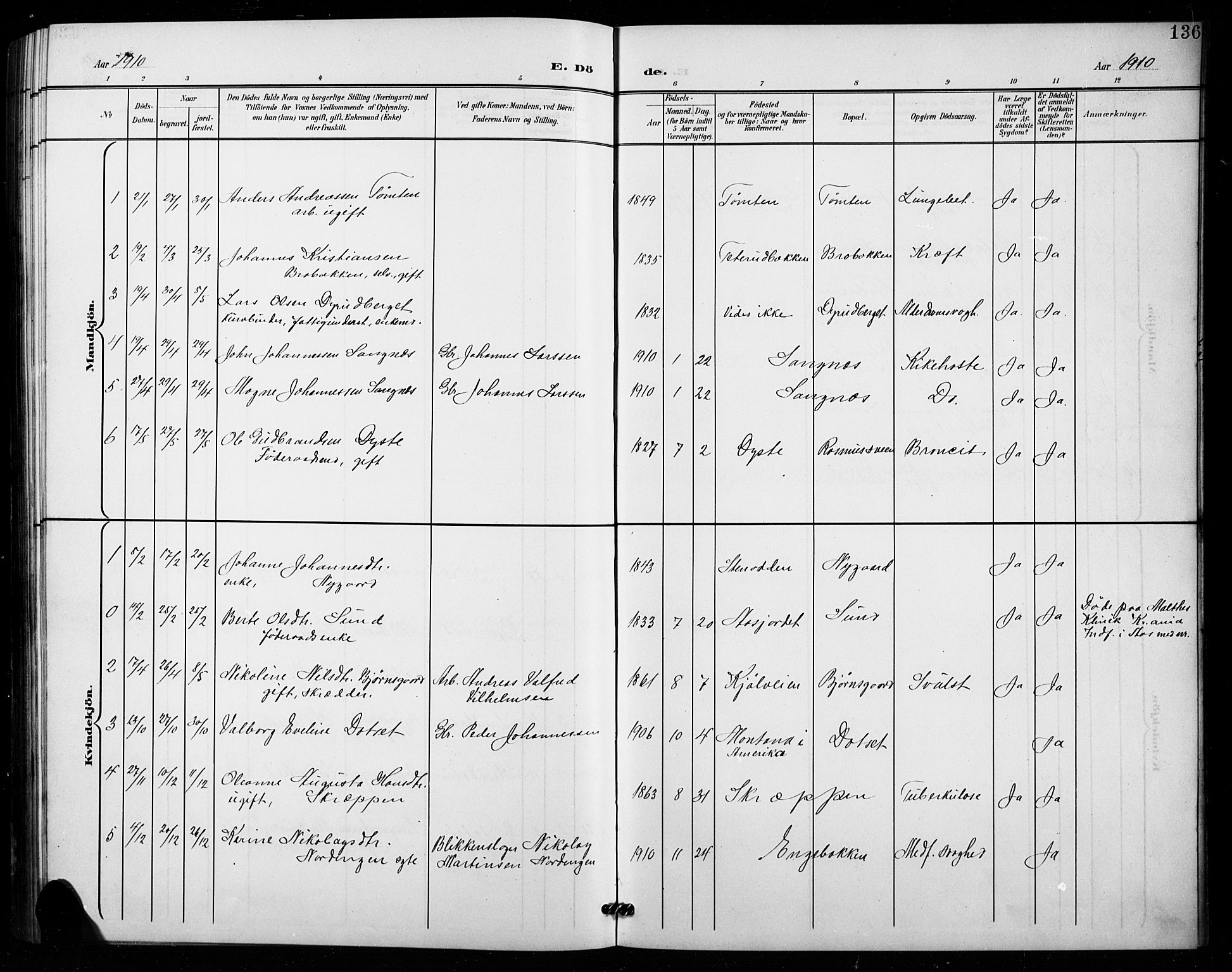 SAH, Vestre Toten prestekontor, Klokkerbok nr. 16, 1901-1915, s. 136