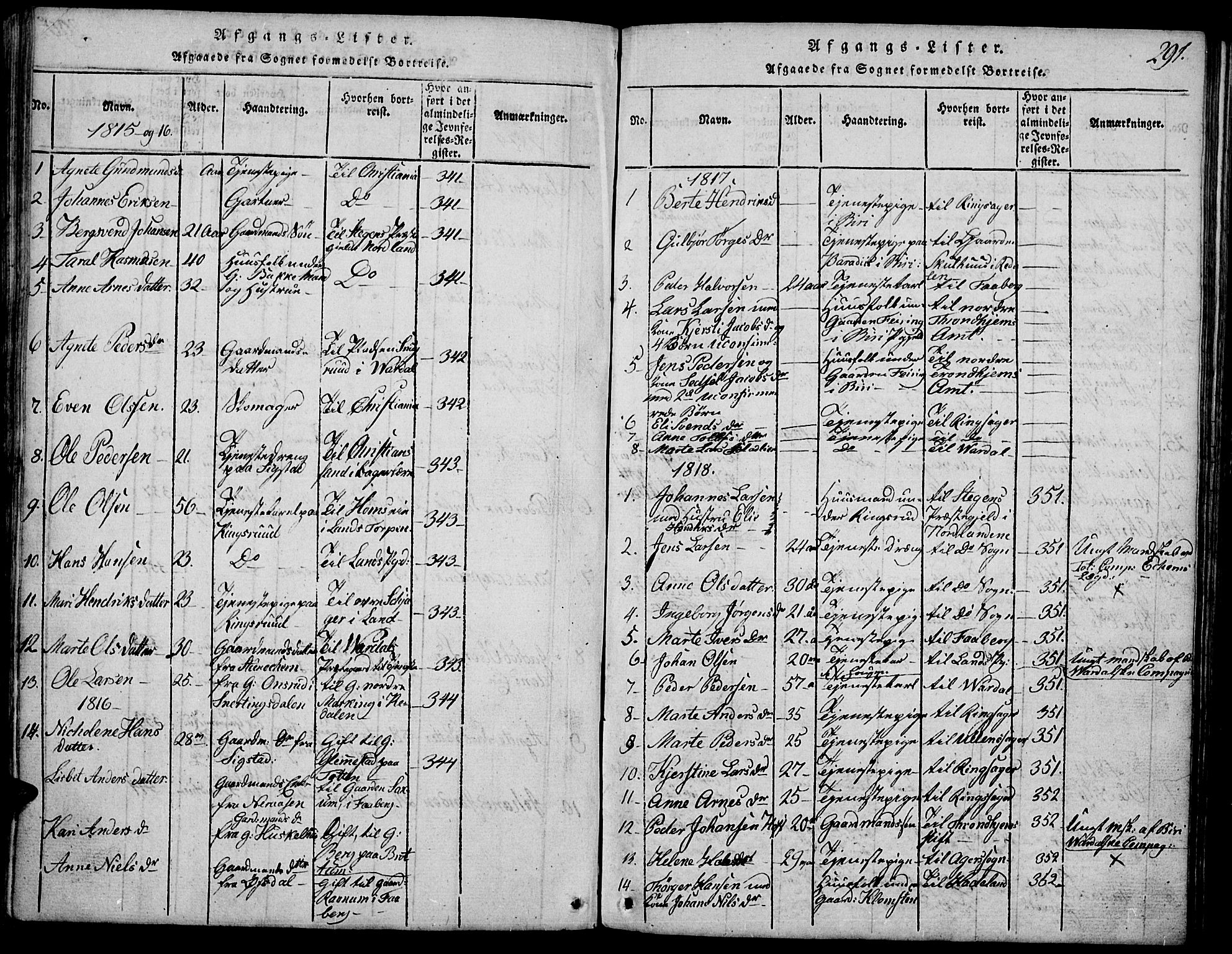 SAH, Biri prestekontor, Klokkerbok nr. 1, 1814-1828, s. 291