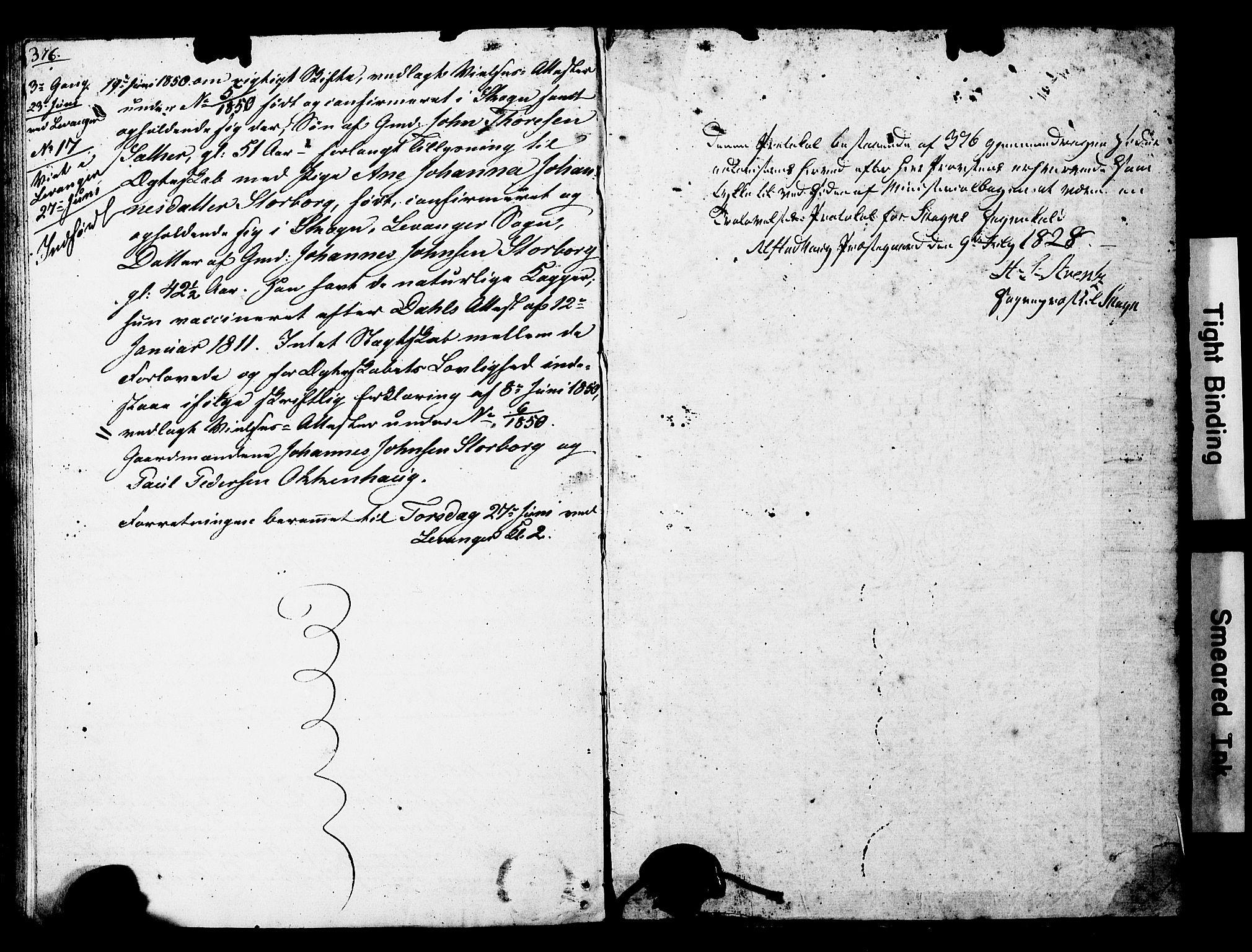 SAT, Ministerialprotokoller, klokkerbøker og fødselsregistre - Nord-Trøndelag, 717/L0160: Forlovererklæringer nr. 717A10, 1828-1850, s. 376-377