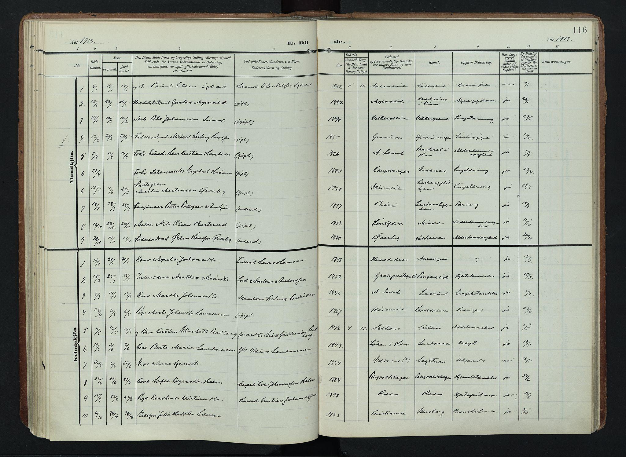 SAH, Søndre Land prestekontor, K/L0005: Ministerialbok nr. 5, 1905-1914, s. 116