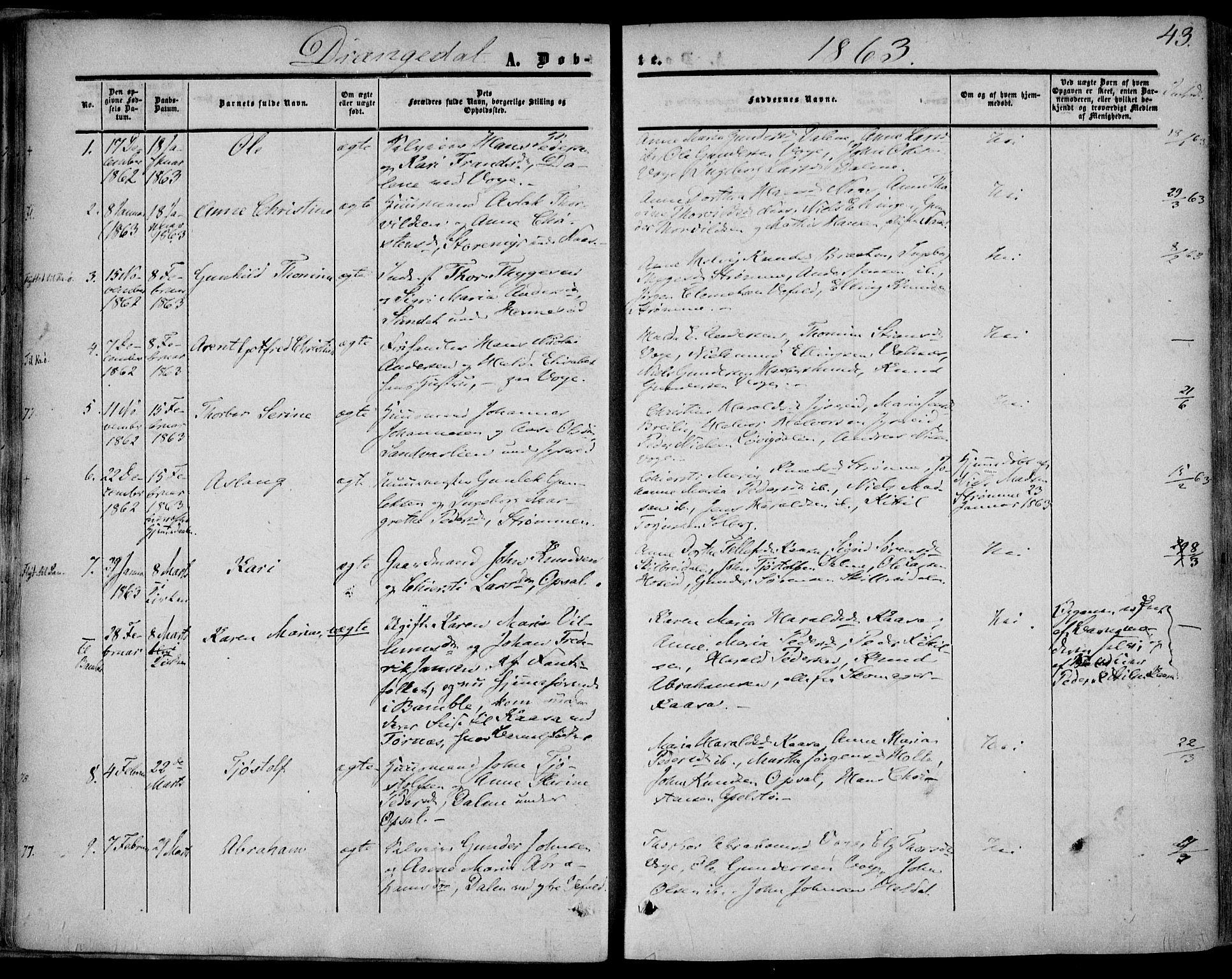 SAKO, Drangedal kirkebøker, F/Fa/L0008: Ministerialbok nr. 8, 1857-1871, s. 43