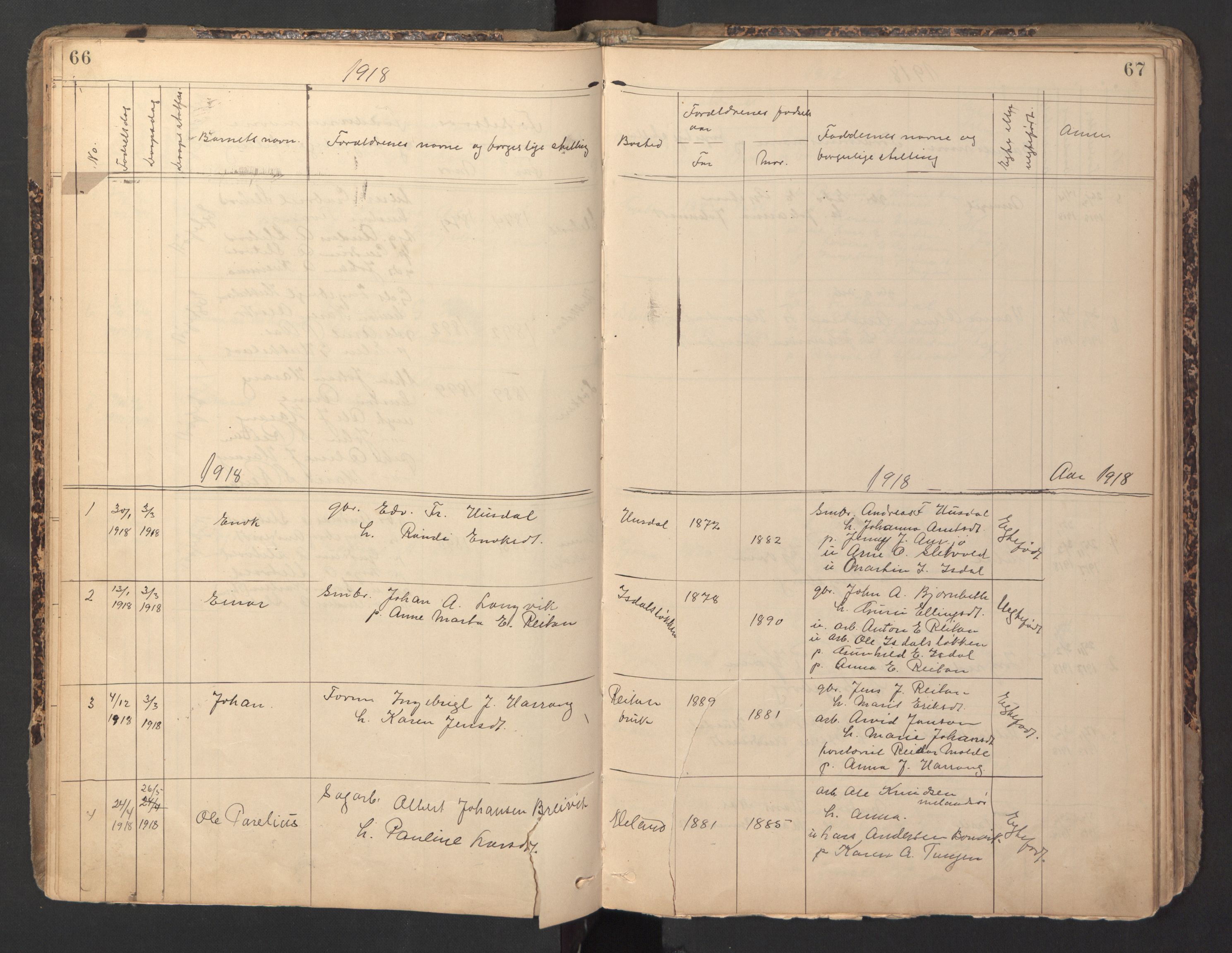 SAT, Ministerialprotokoller, klokkerbøker og fødselsregistre - Sør-Trøndelag, 670/L0837: Klokkerbok nr. 670C01, 1905-1946, s. 66-67