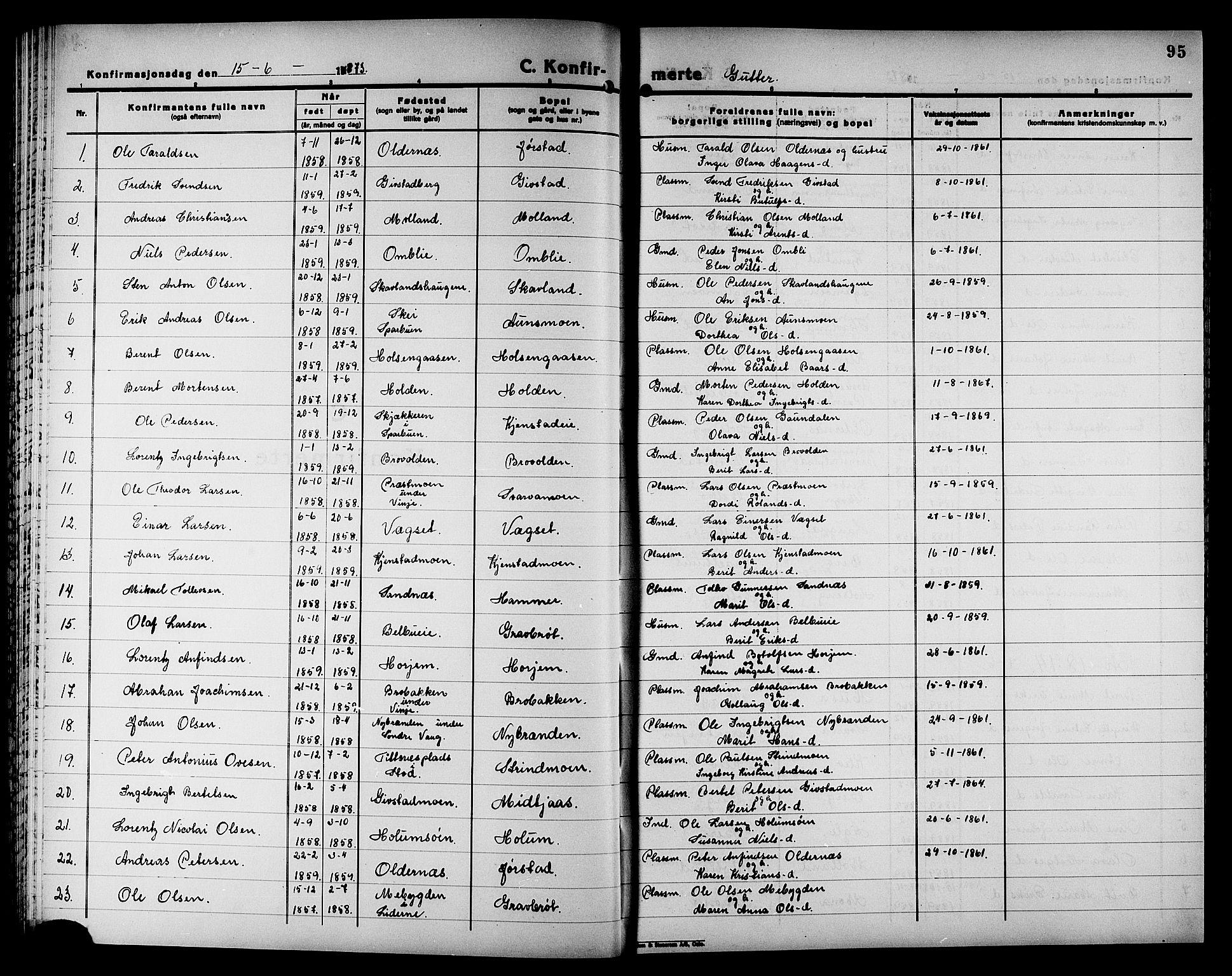 SAT, Ministerialprotokoller, klokkerbøker og fødselsregistre - Nord-Trøndelag, 749/L0486: Ministerialbok nr. 749D02, 1873-1887, s. 95
