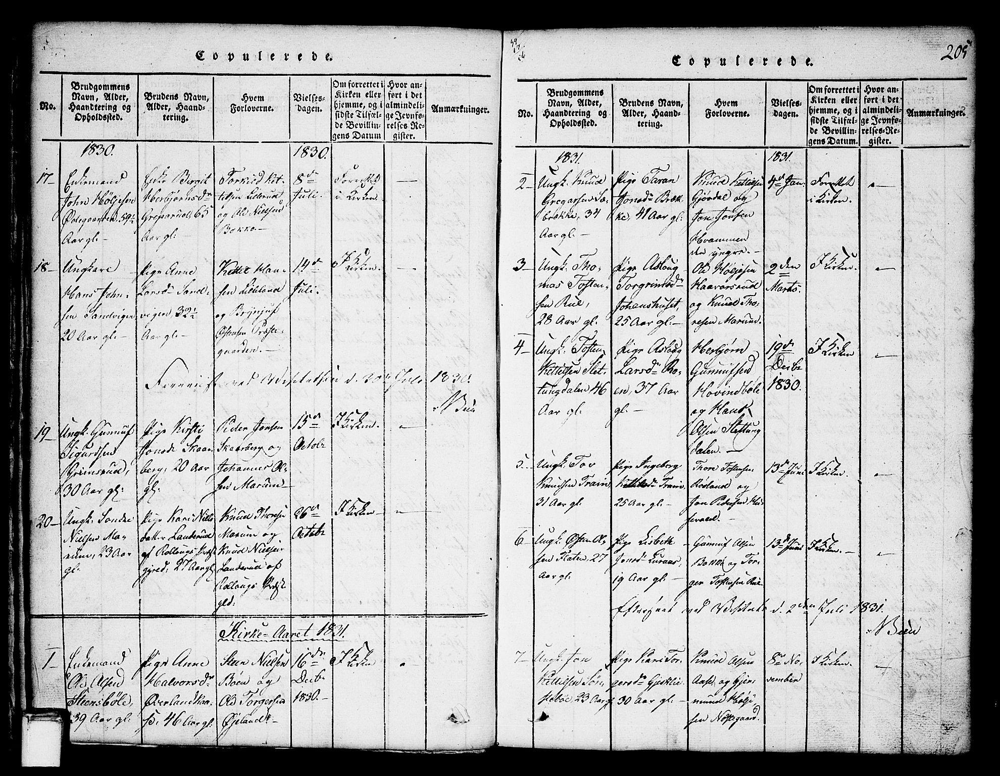 SAKO, Tinn kirkebøker, G/Ga/L0001: Klokkerbok nr. I 1, 1815-1850, s. 205