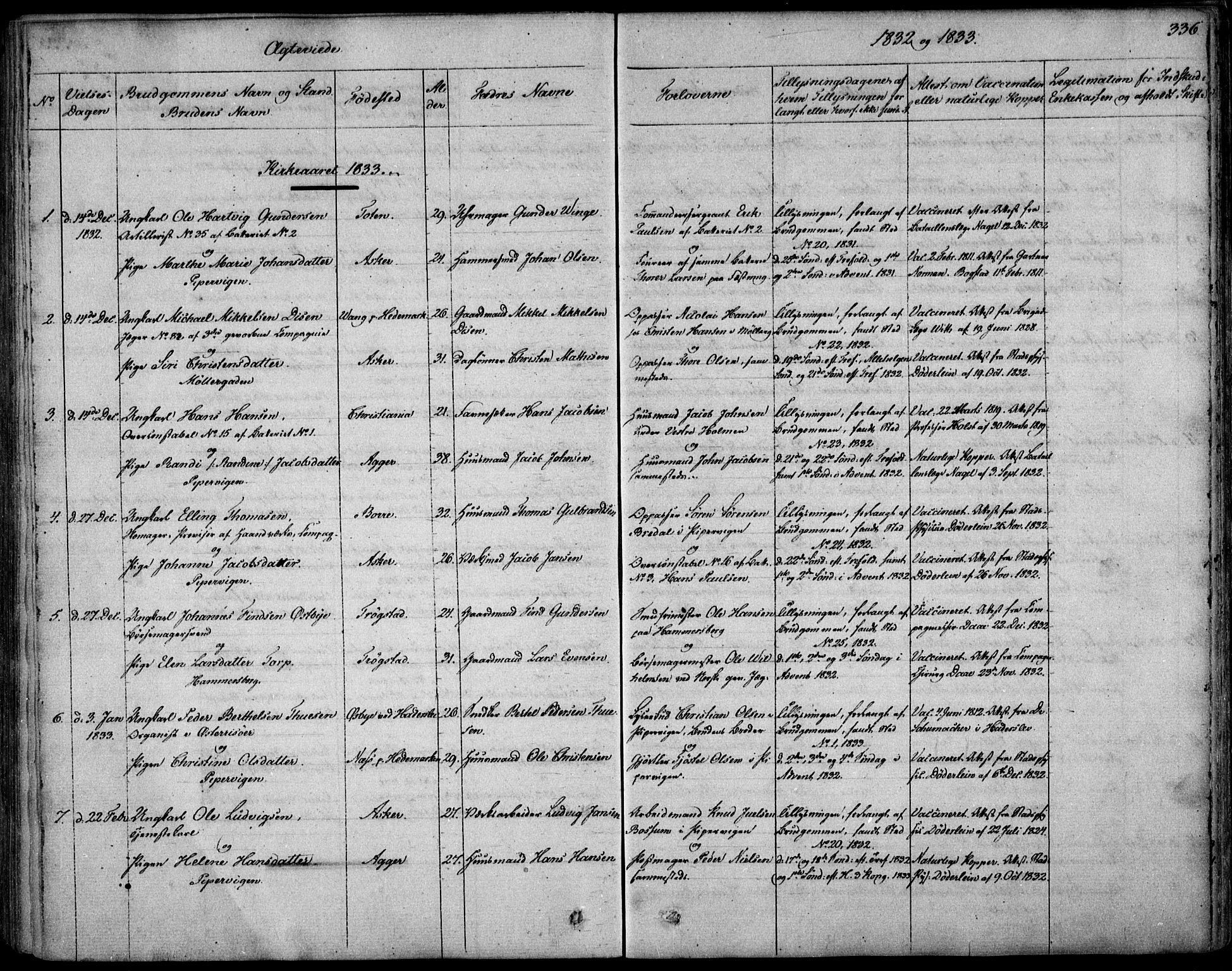 SAO, Garnisonsmenigheten Kirkebøker, F/Fa/L0006: Ministerialbok nr. 6, 1828-1841, s. 336