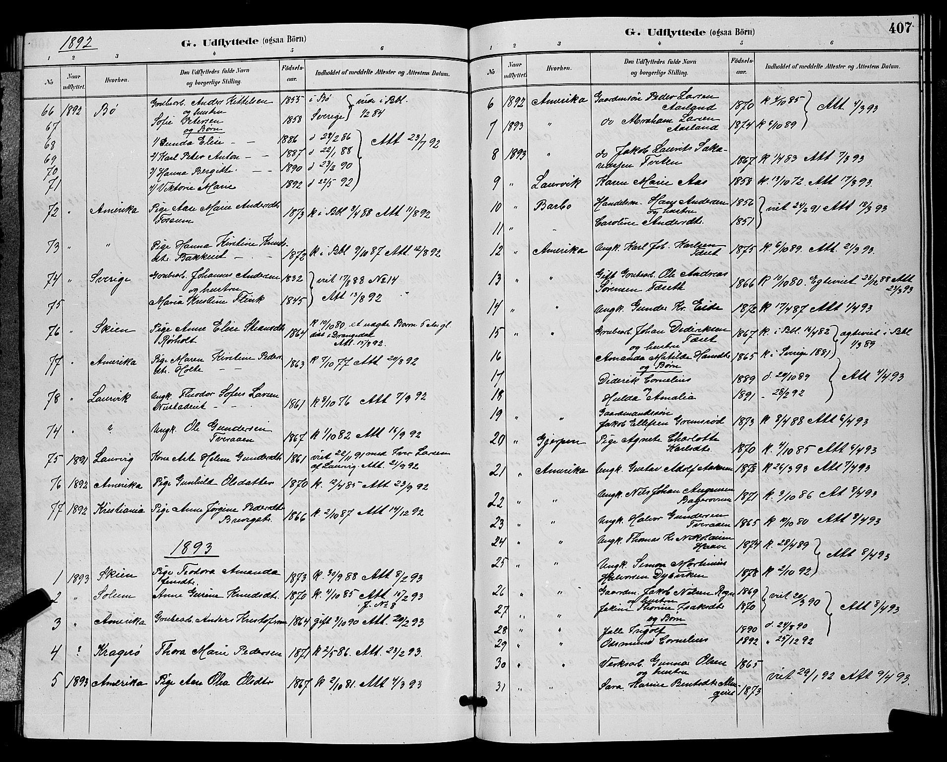 SAKO, Bamble kirkebøker, G/Ga/L0009: Klokkerbok nr. I 9, 1888-1900, s. 407