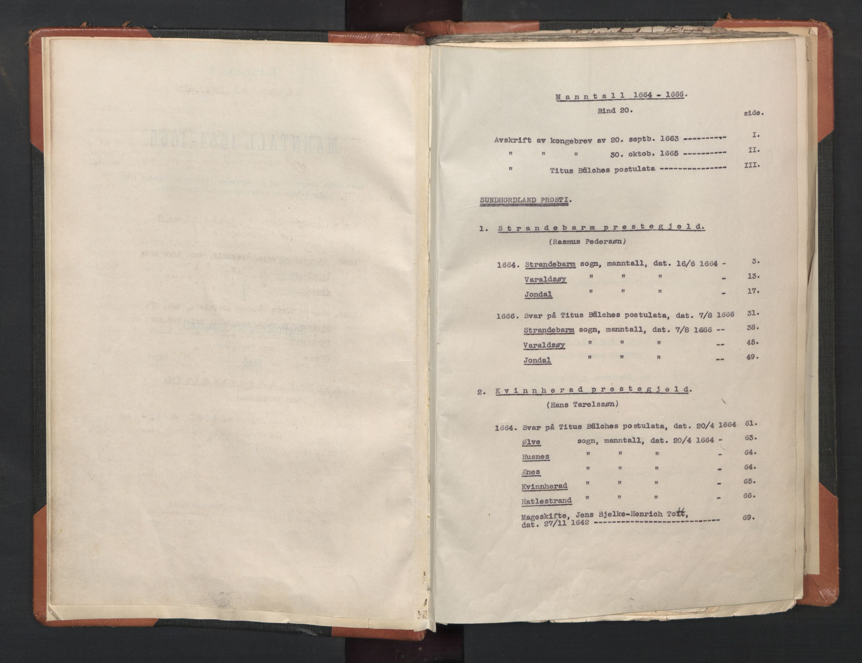 RA, Sogneprestenes manntall 1664-1666, nr. 20: Sunnhordland prosti, 1664-1666, s. upaginert