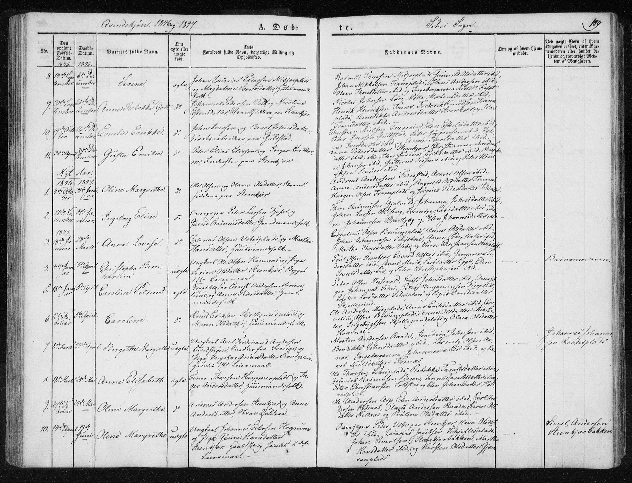 SAT, Ministerialprotokoller, klokkerbøker og fødselsregistre - Nord-Trøndelag, 735/L0339: Ministerialbok nr. 735A06 /2, 1836-1848, s. 109