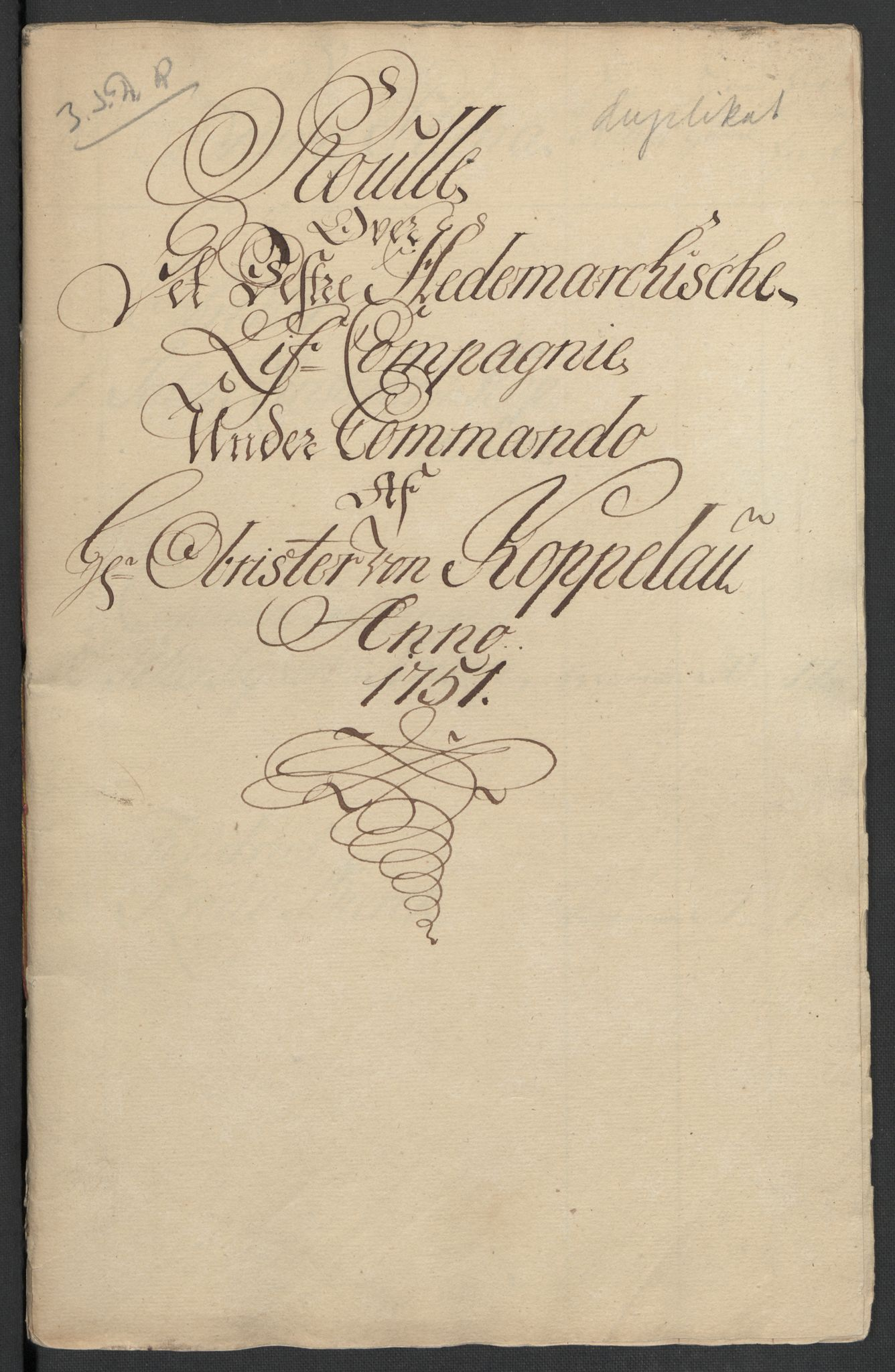 RA, Kommanderende general (KG I) med Det norske krigsdirektorium, E/Ea/L0479: 3. Sønnafjelske dragonregiment, 1756-1760, s. 500