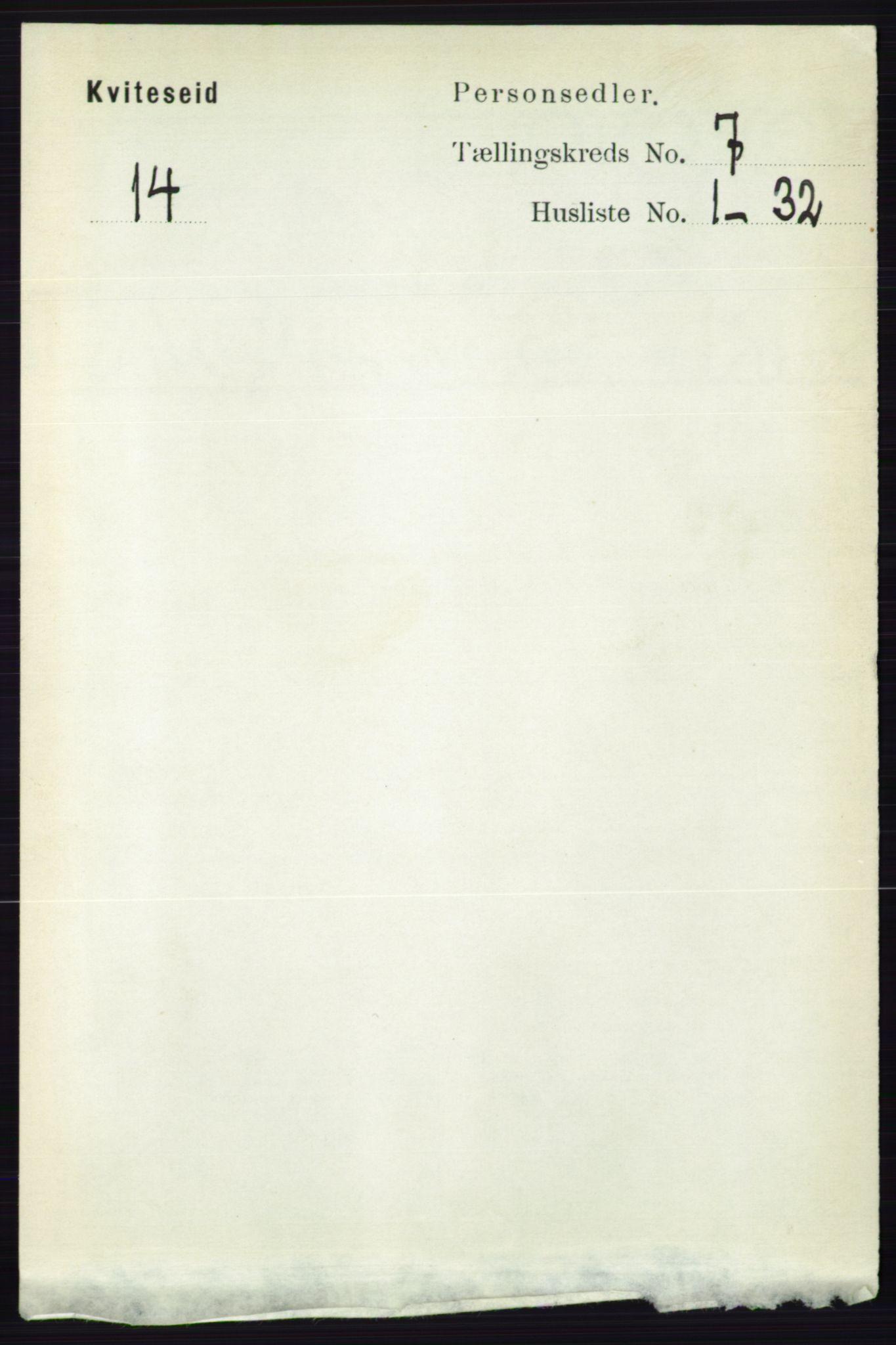 RA, Folketelling 1891 for 0829 Kviteseid herred, 1891, s. 1364