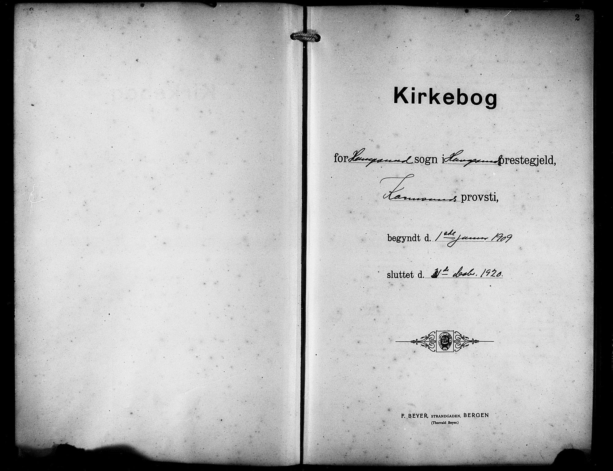 SAST, Haugesund sokneprestkontor, H/Ha/Hab/L0008: Klokkerbok nr. B 8, 1909-1921, s. 2