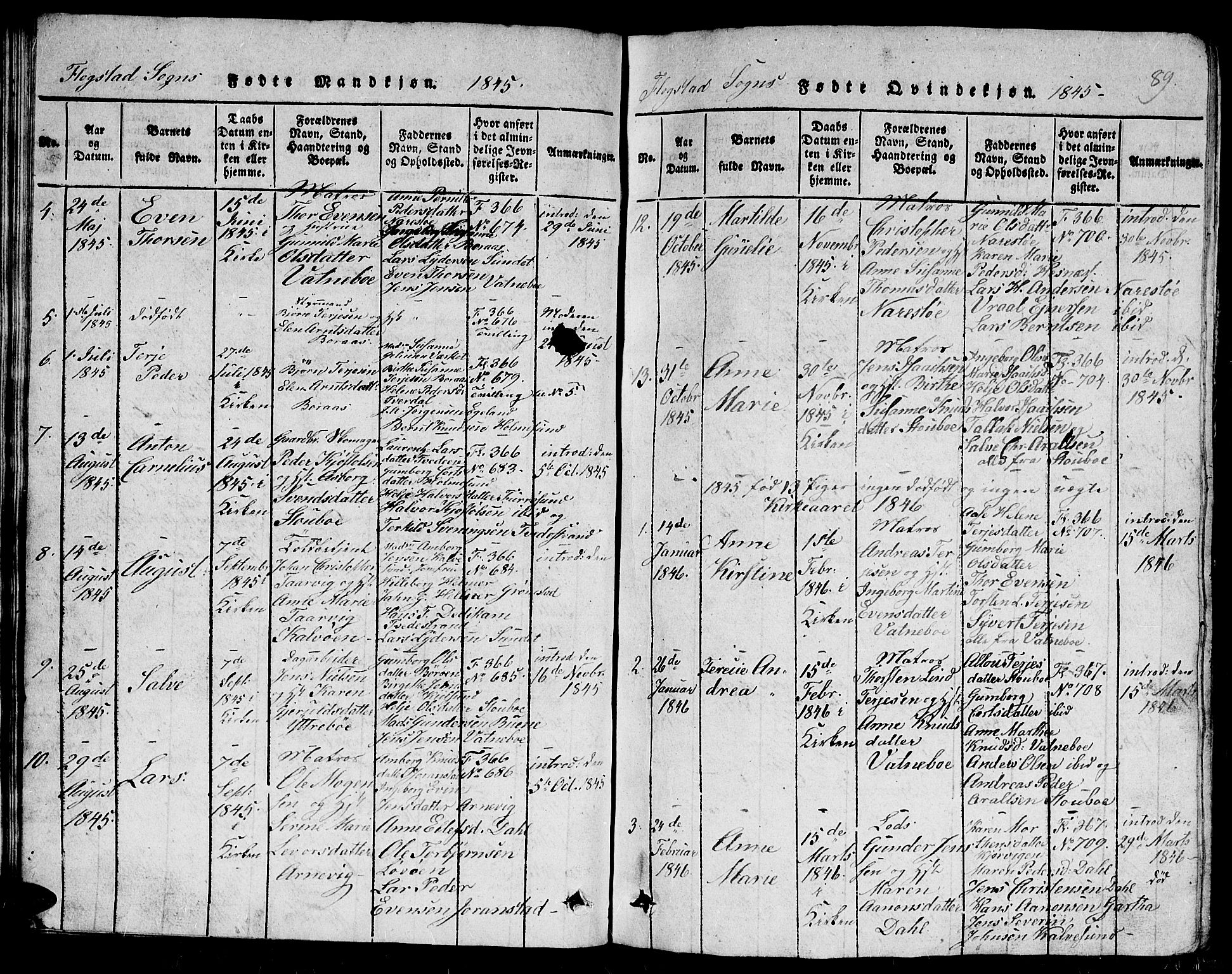 SAK, Dypvåg sokneprestkontor, F/Fb/Fbb/L0001: Klokkerbok nr. B 1, 1816-1850, s. 89