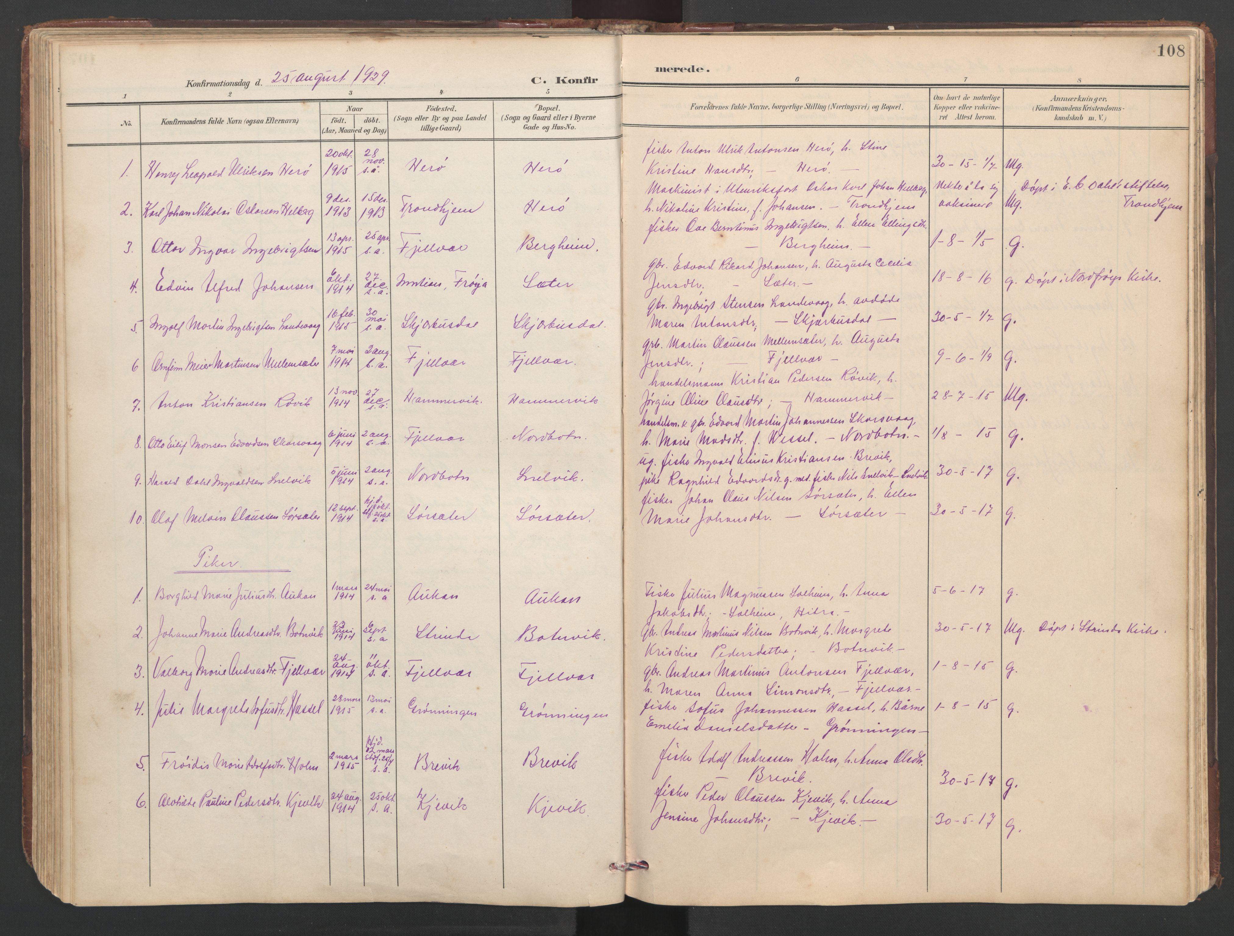 SAT, Ministerialprotokoller, klokkerbøker og fødselsregistre - Sør-Trøndelag, 638/L0571: Klokkerbok nr. 638C03, 1901-1930, s. 108
