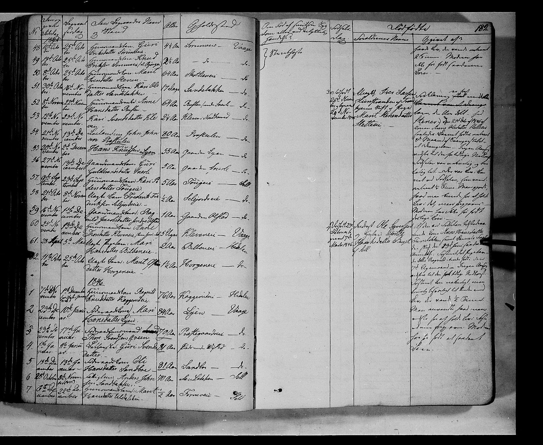 SAH, Vågå prestekontor, Ministerialbok nr. 5 /1, 1842-1856, s. 182