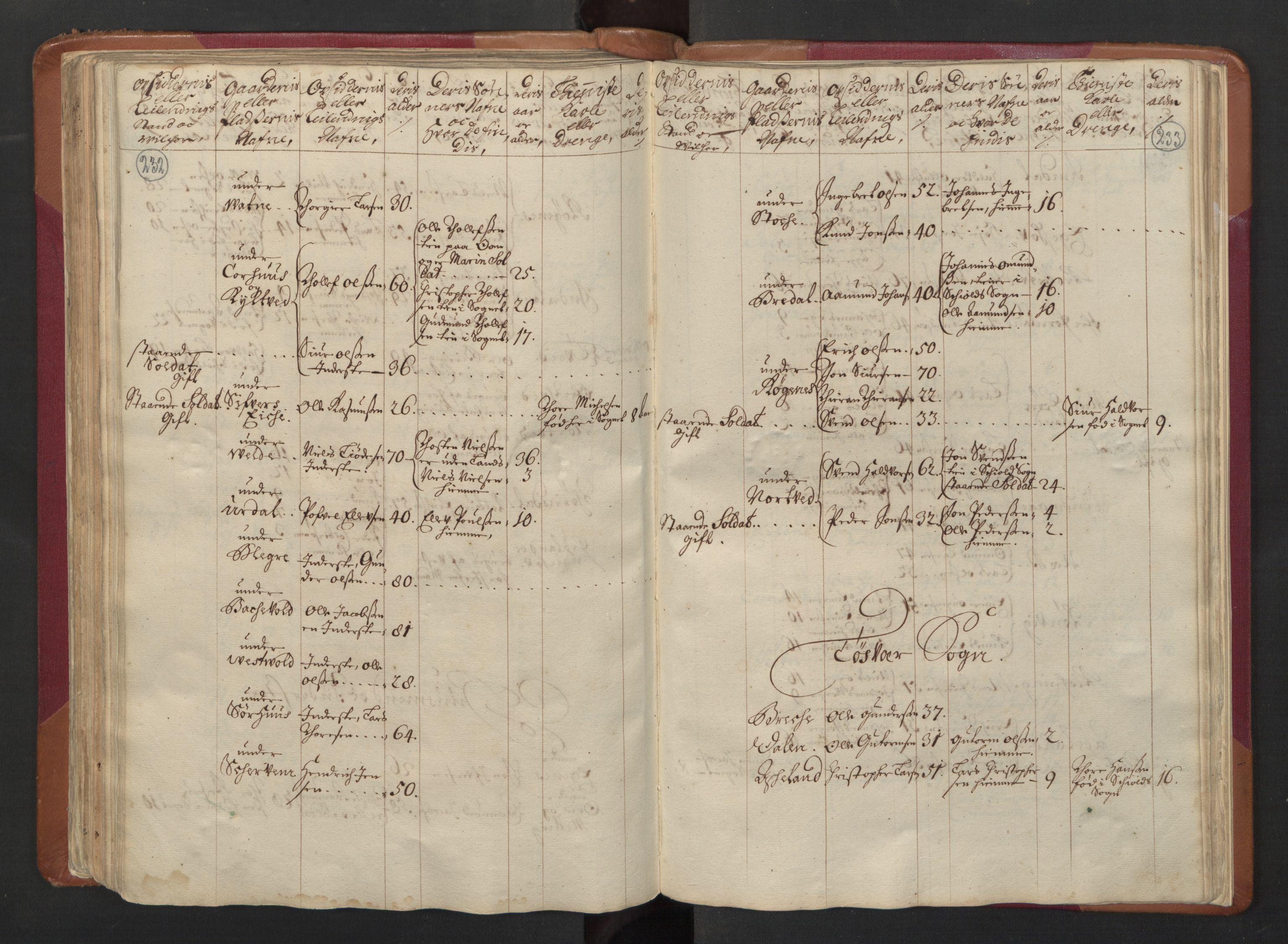 RA, Manntallet 1701, nr. 5: Ryfylke fogderi, 1701, s. 232-233