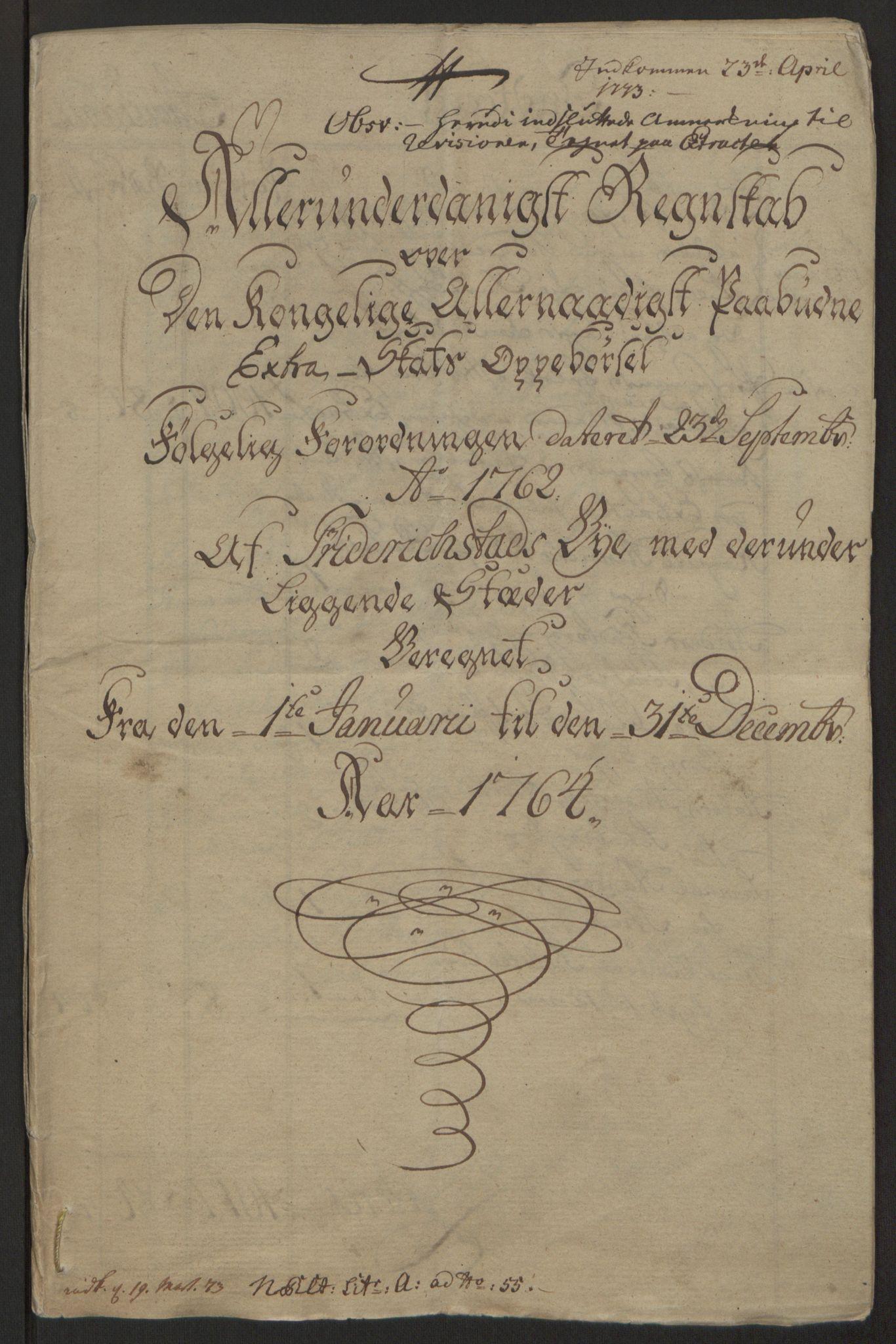 RA, Rentekammeret inntil 1814, Reviderte regnskaper, Byregnskaper, R/Rb/L0029: [B3] Kontribusjonsregnskap, 1762-1772, s. 124