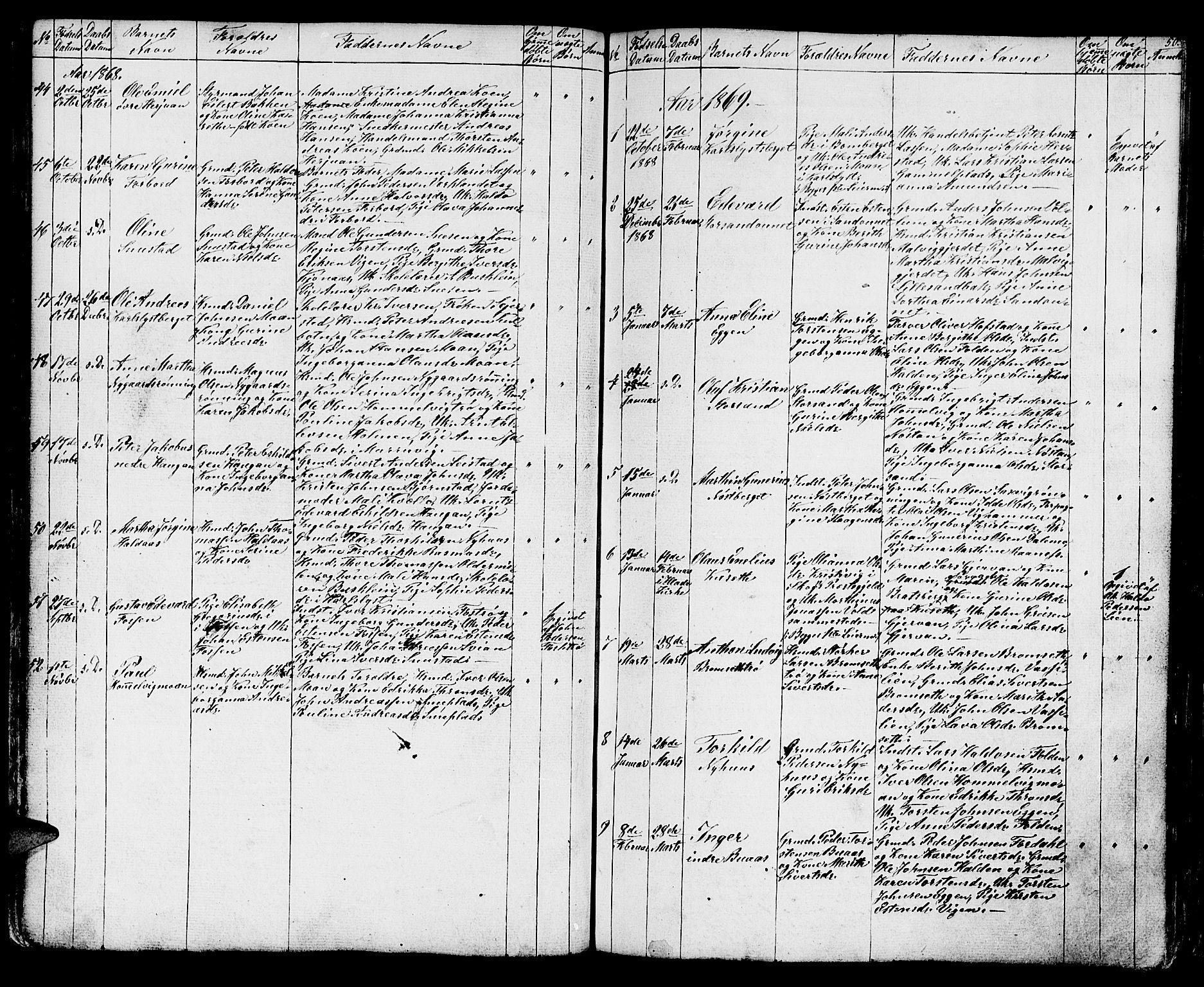 SAT, Ministerialprotokoller, klokkerbøker og fødselsregistre - Sør-Trøndelag, 616/L0422: Klokkerbok nr. 616C05, 1850-1888, s. 50