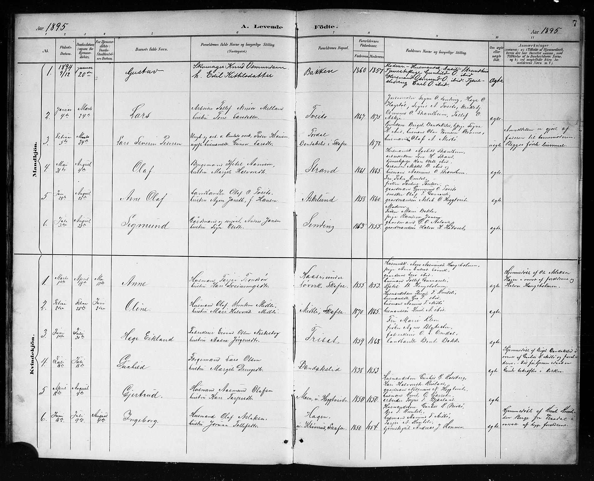 SAKO, Lårdal kirkebøker, G/Ga/L0003: Klokkerbok nr. I 3, 1891-1918, s. 7