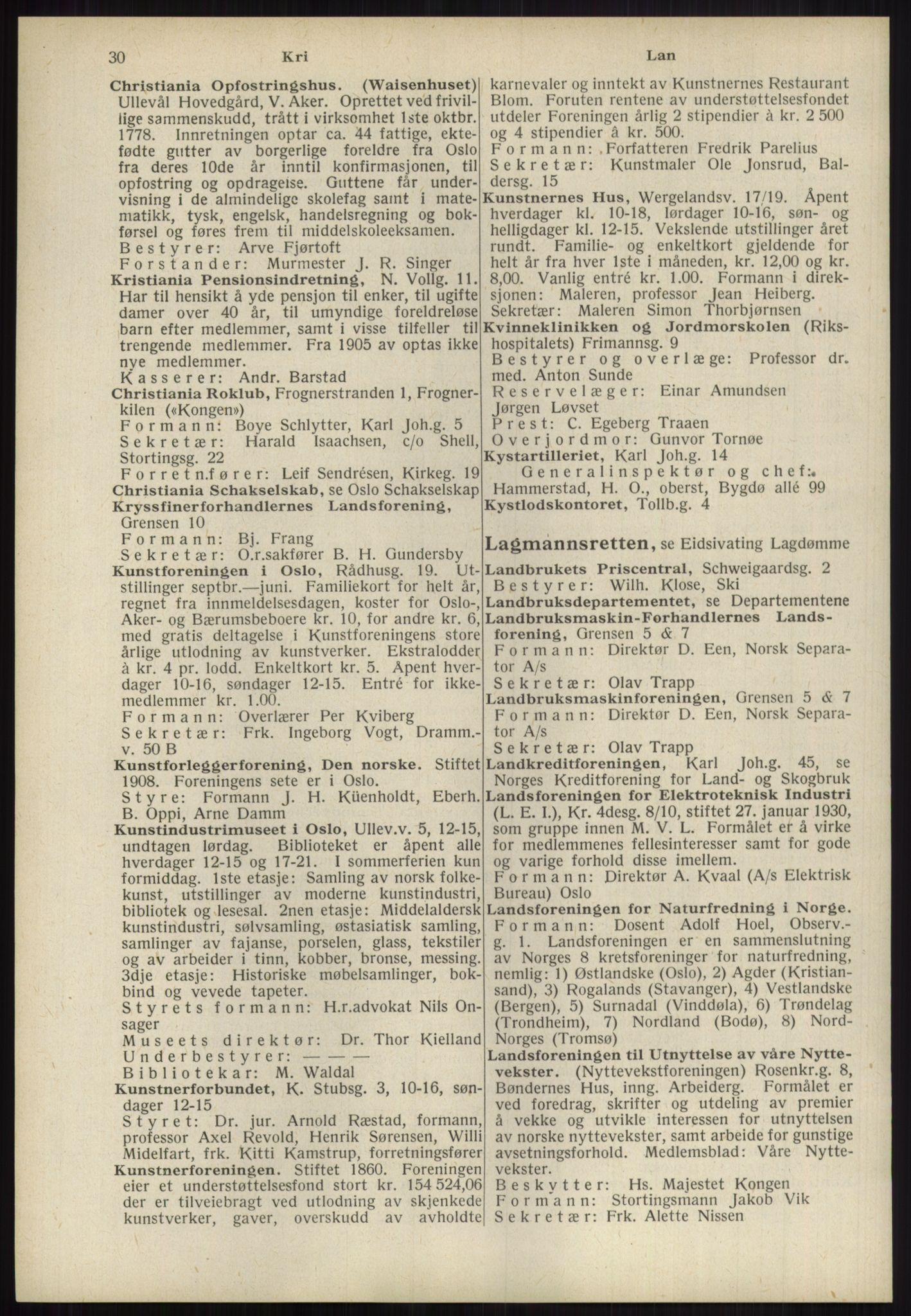 RA, Oslo adressebok (publikasjon)*, 1939, s. 30