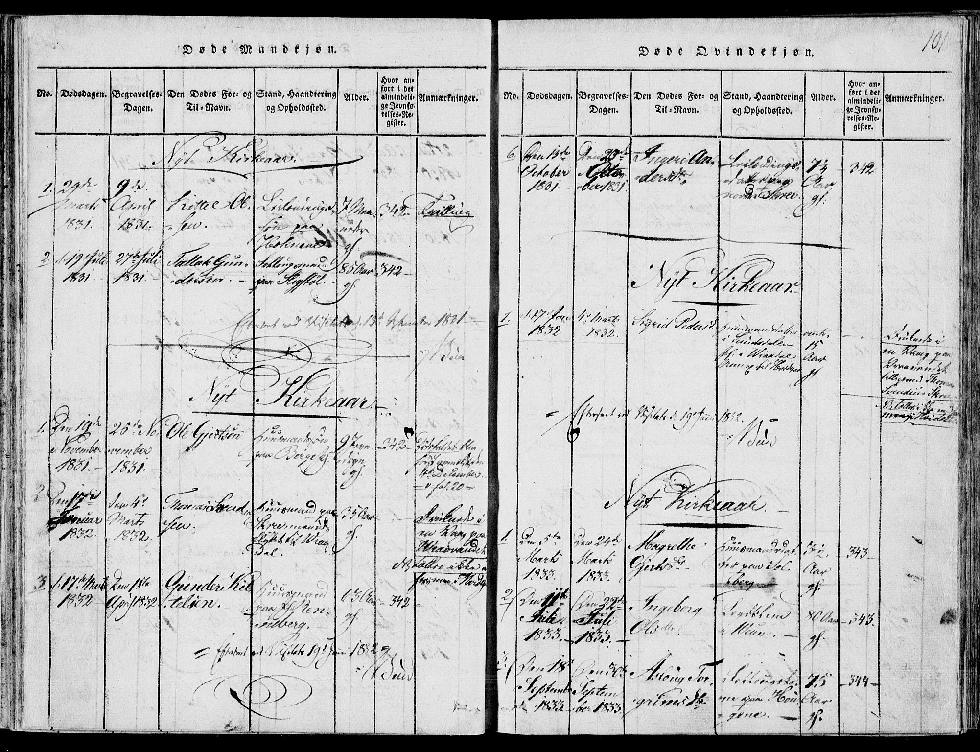 SAKO, Fyresdal kirkebøker, F/Fb/L0001: Ministerialbok nr. II 1, 1815-1854, s. 101