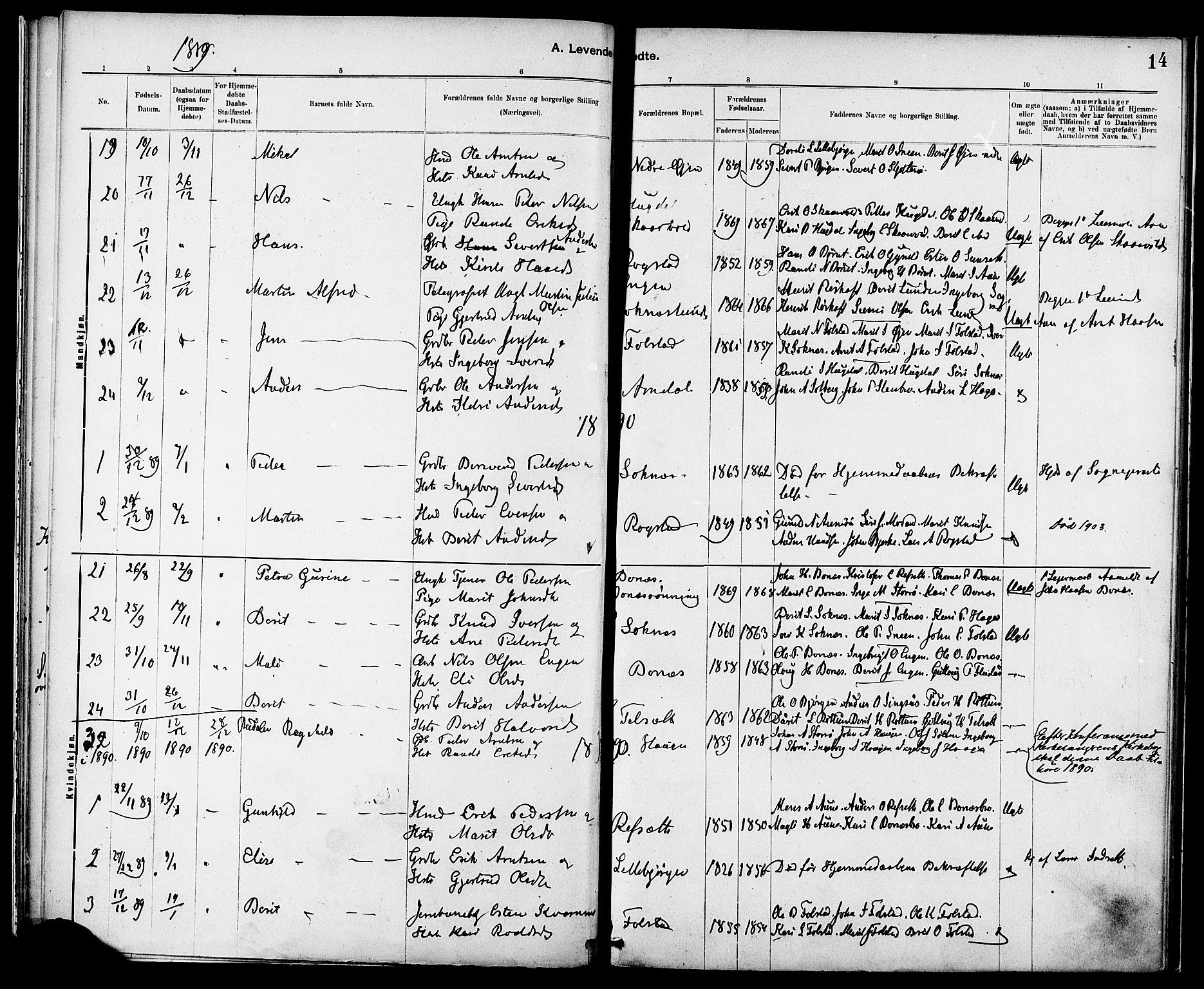 SAT, Ministerialprotokoller, klokkerbøker og fødselsregistre - Sør-Trøndelag, 687/L1003: Ministerialbok nr. 687A09, 1886-1890, s. 14