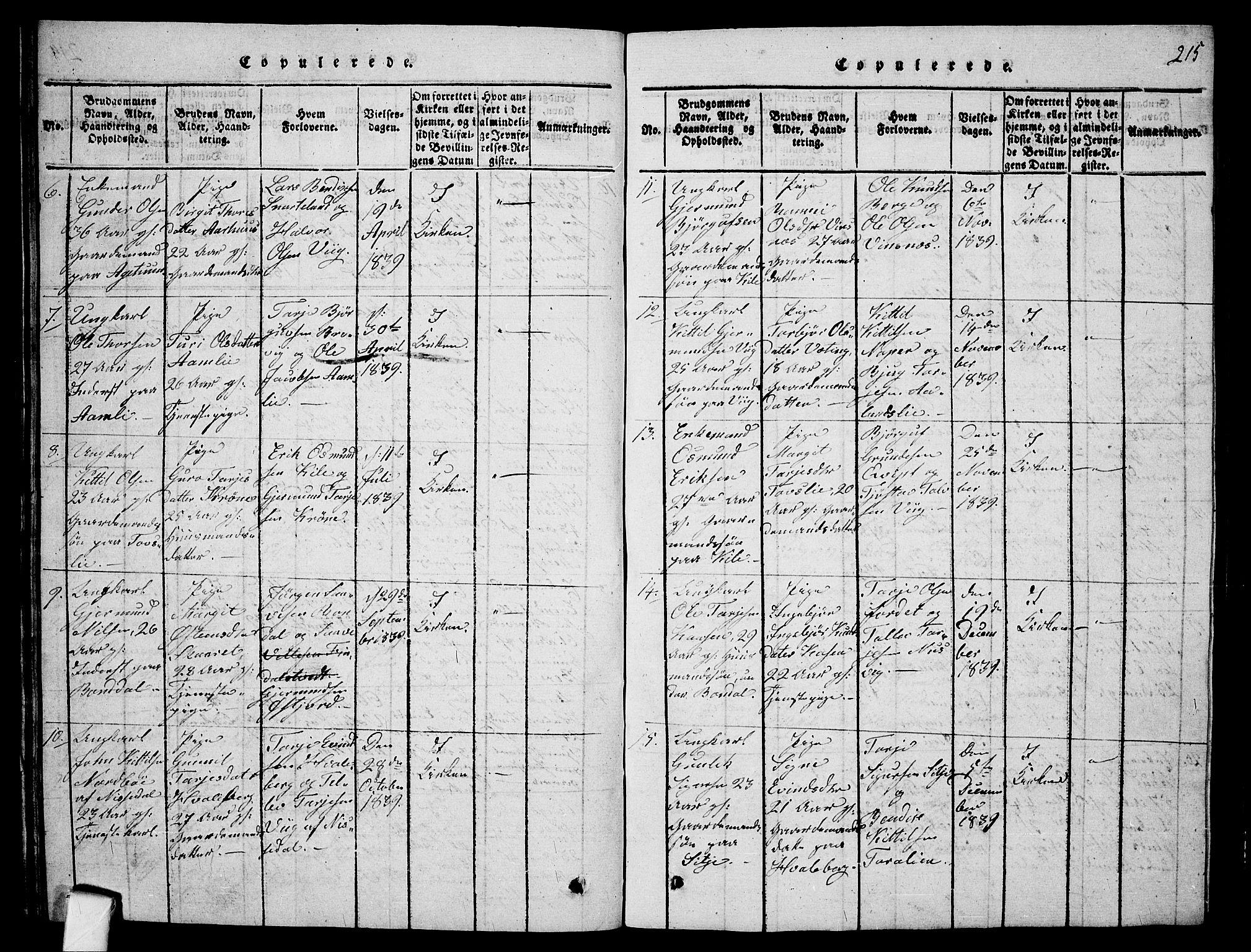 SAKO, Fyresdal kirkebøker, G/Ga/L0001: Klokkerbok nr. I 1, 1816-1840, s. 215