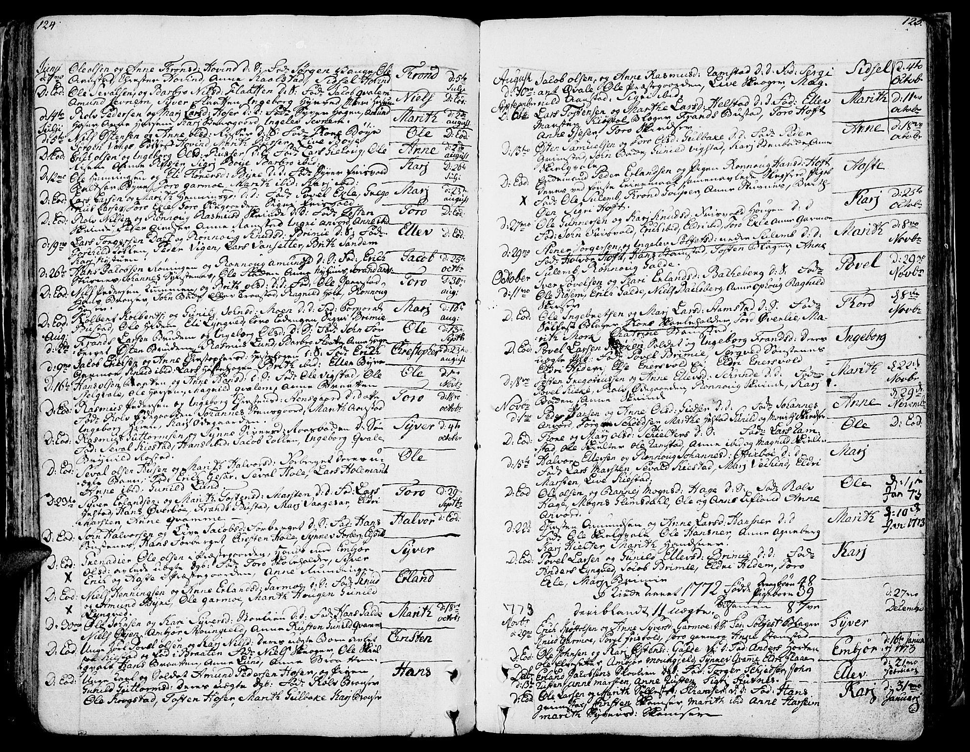 SAH, Lom prestekontor, K/L0002: Ministerialbok nr. 2, 1749-1801, s. 124-125