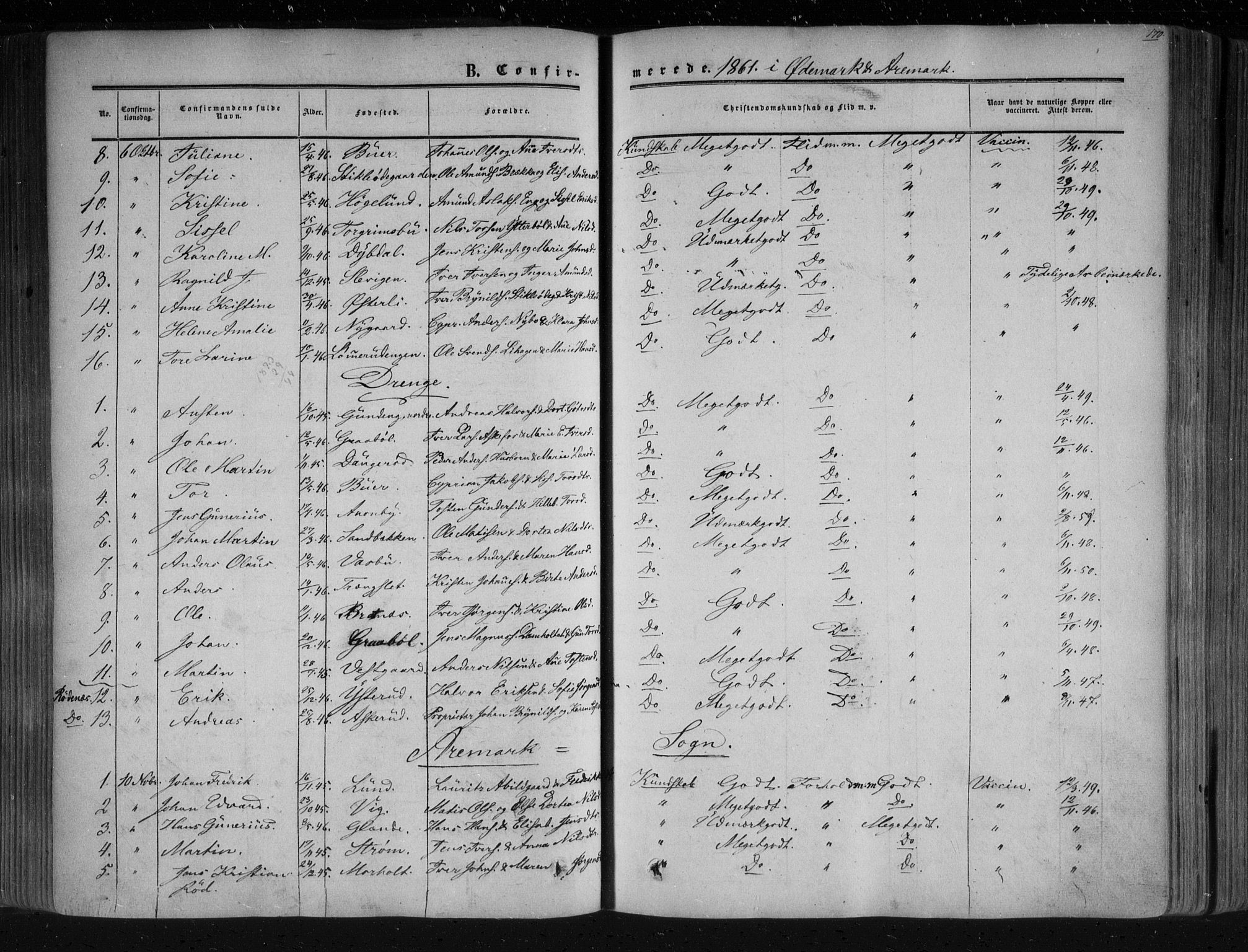 SAO, Aremark prestekontor Kirkebøker, F/Fc/L0003: Ministerialbok nr. III 3, 1850-1865, s. 170