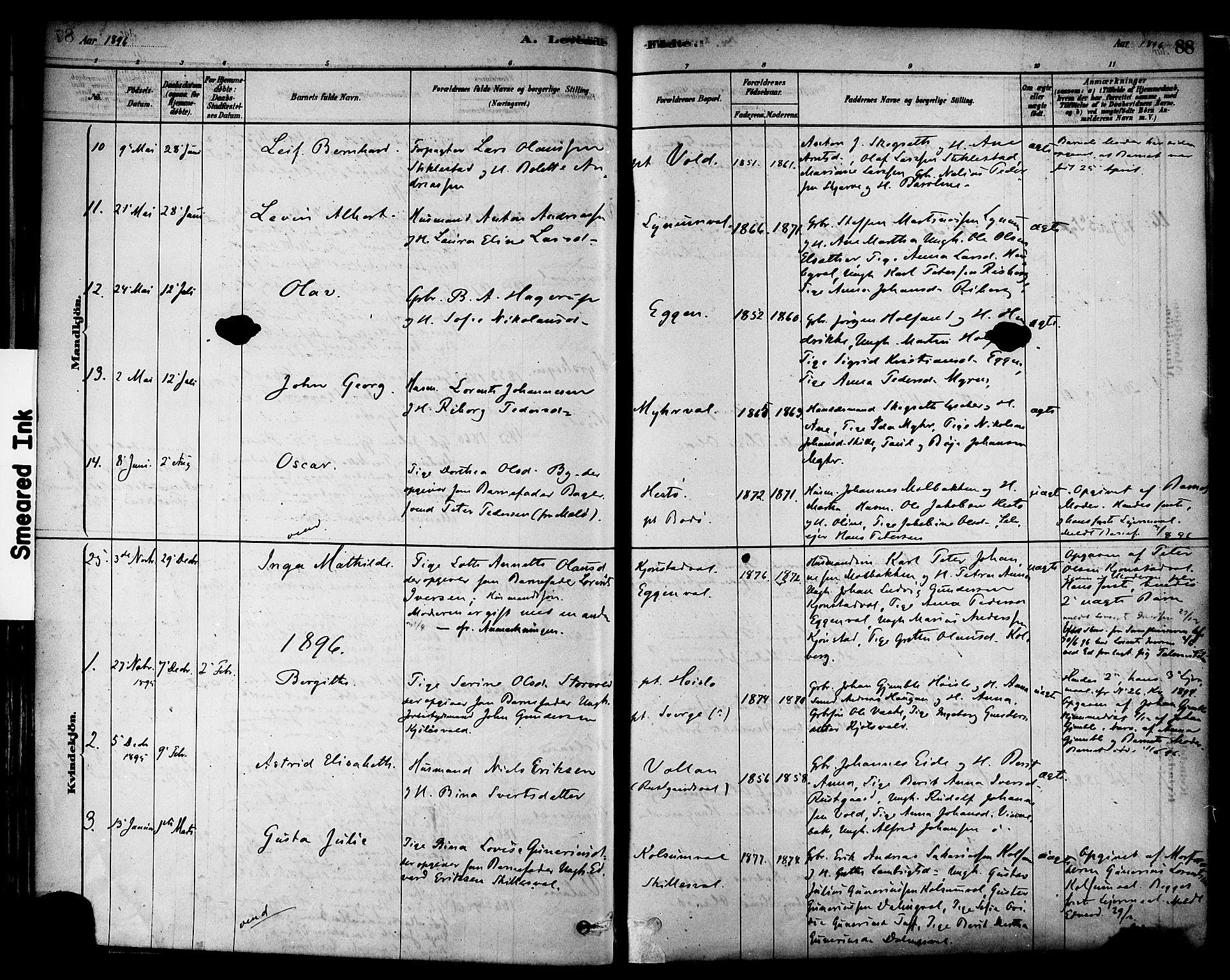 SAT, Ministerialprotokoller, klokkerbøker og fødselsregistre - Nord-Trøndelag, 717/L0159: Ministerialbok nr. 717A09, 1878-1898, s. 88