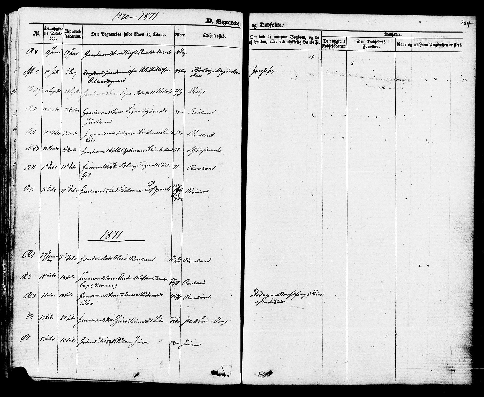SAKO, Rauland kirkebøker, F/Fa/L0003: Ministerialbok nr. 3, 1859-1886, s. 284