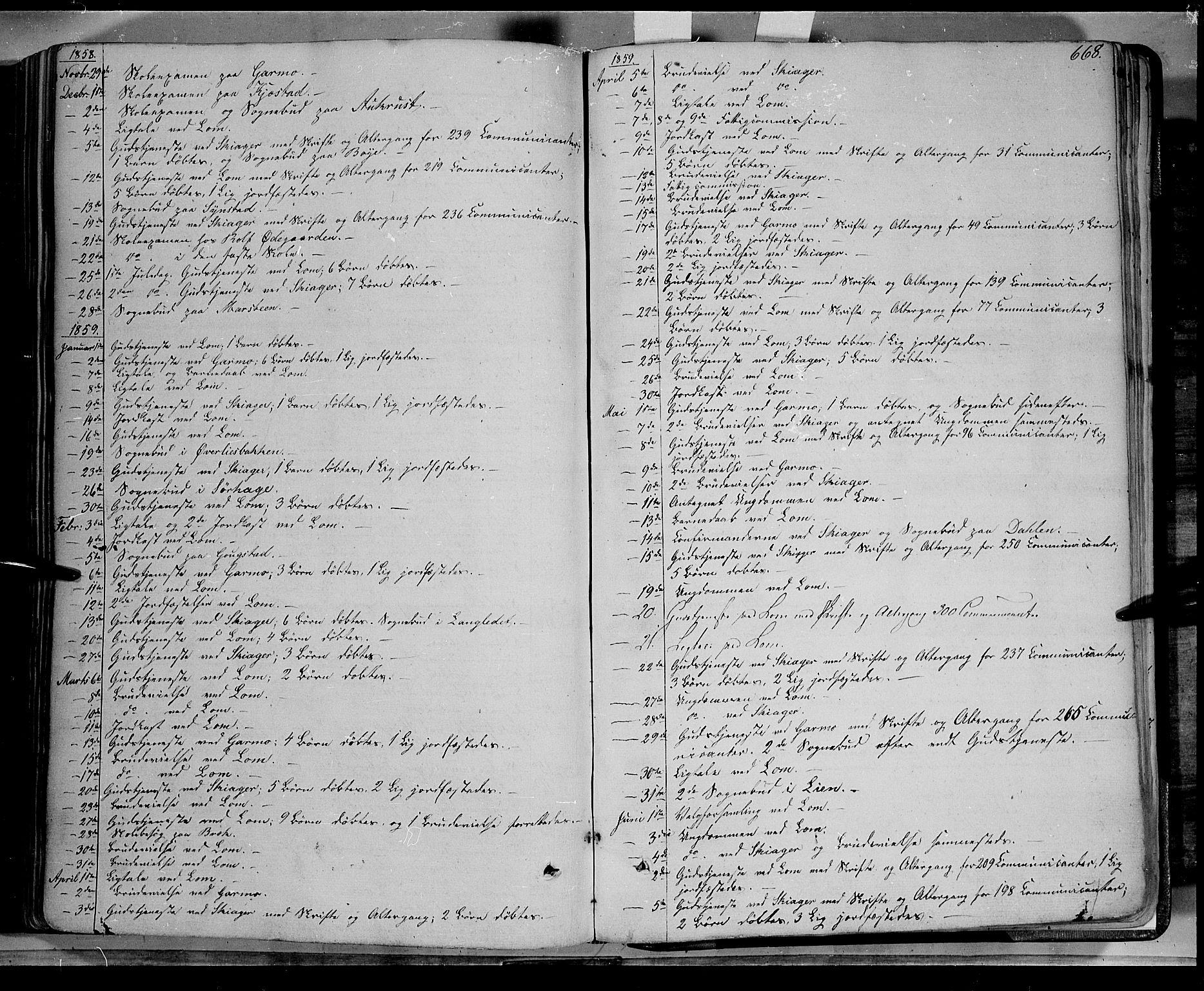 SAH, Lom prestekontor, K/L0006: Ministerialbok nr. 6B, 1837-1863, s. 668
