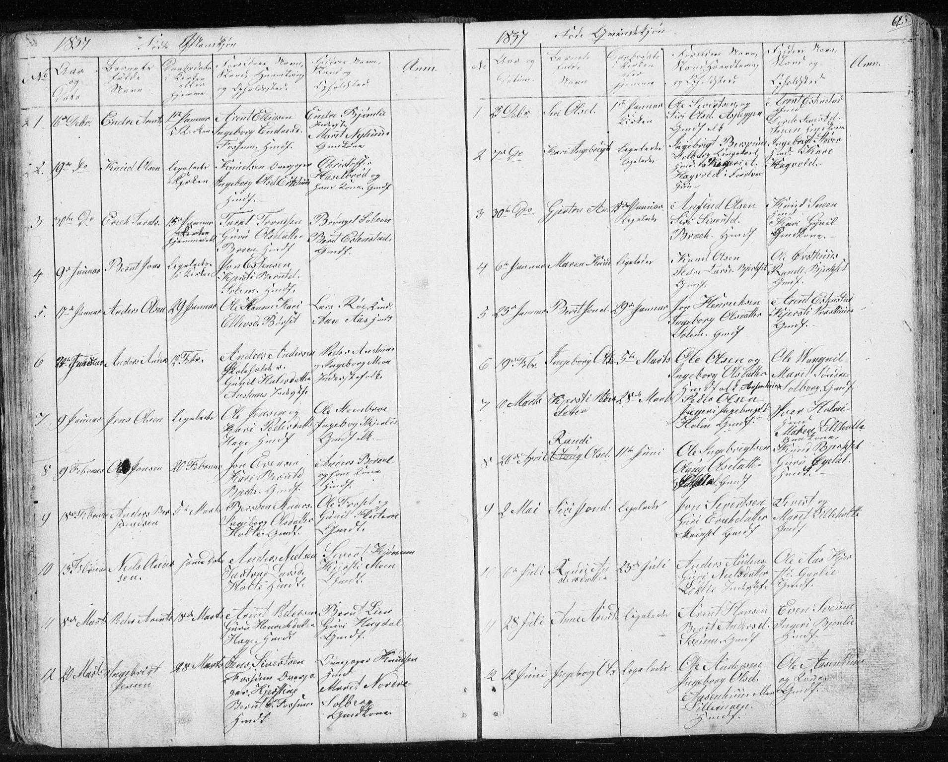 SAT, Ministerialprotokoller, klokkerbøker og fødselsregistre - Sør-Trøndelag, 689/L1043: Klokkerbok nr. 689C02, 1816-1892, s. 62