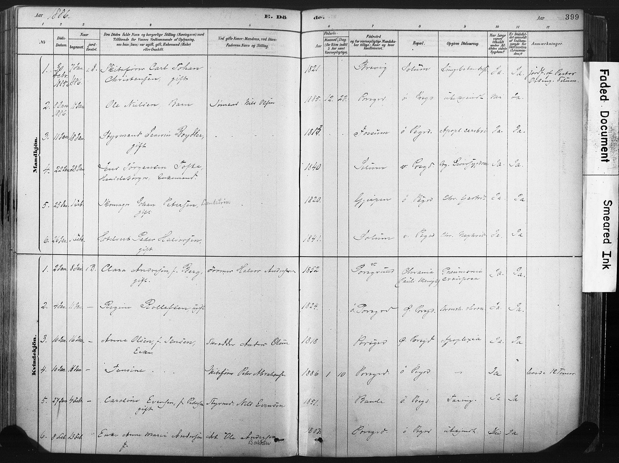 SAKO, Porsgrunn kirkebøker , F/Fa/L0008: Ministerialbok nr. 8, 1878-1895, s. 399