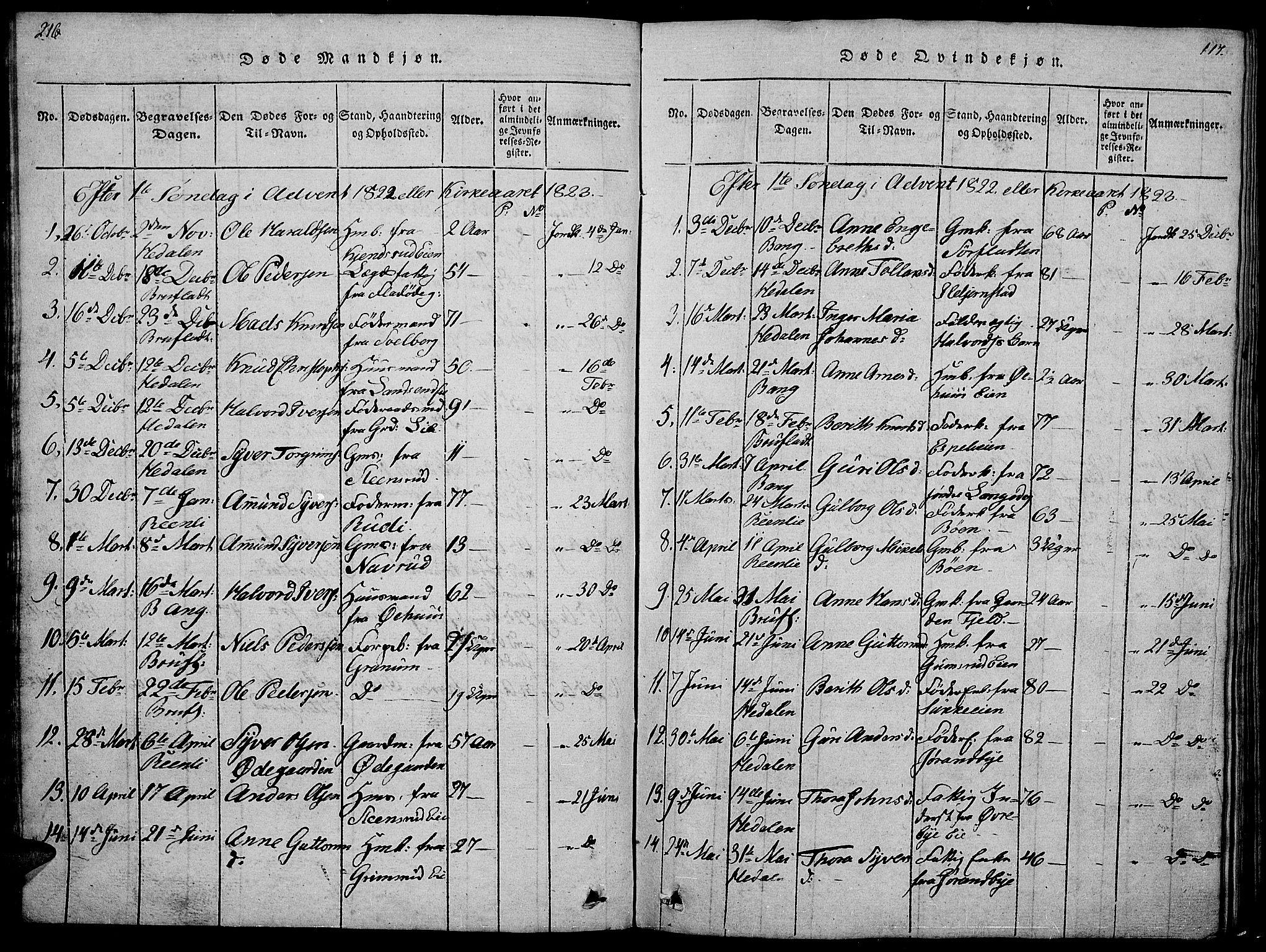 SAH, Sør-Aurdal prestekontor, Klokkerbok nr. 1, 1815-1826, s. 216-217