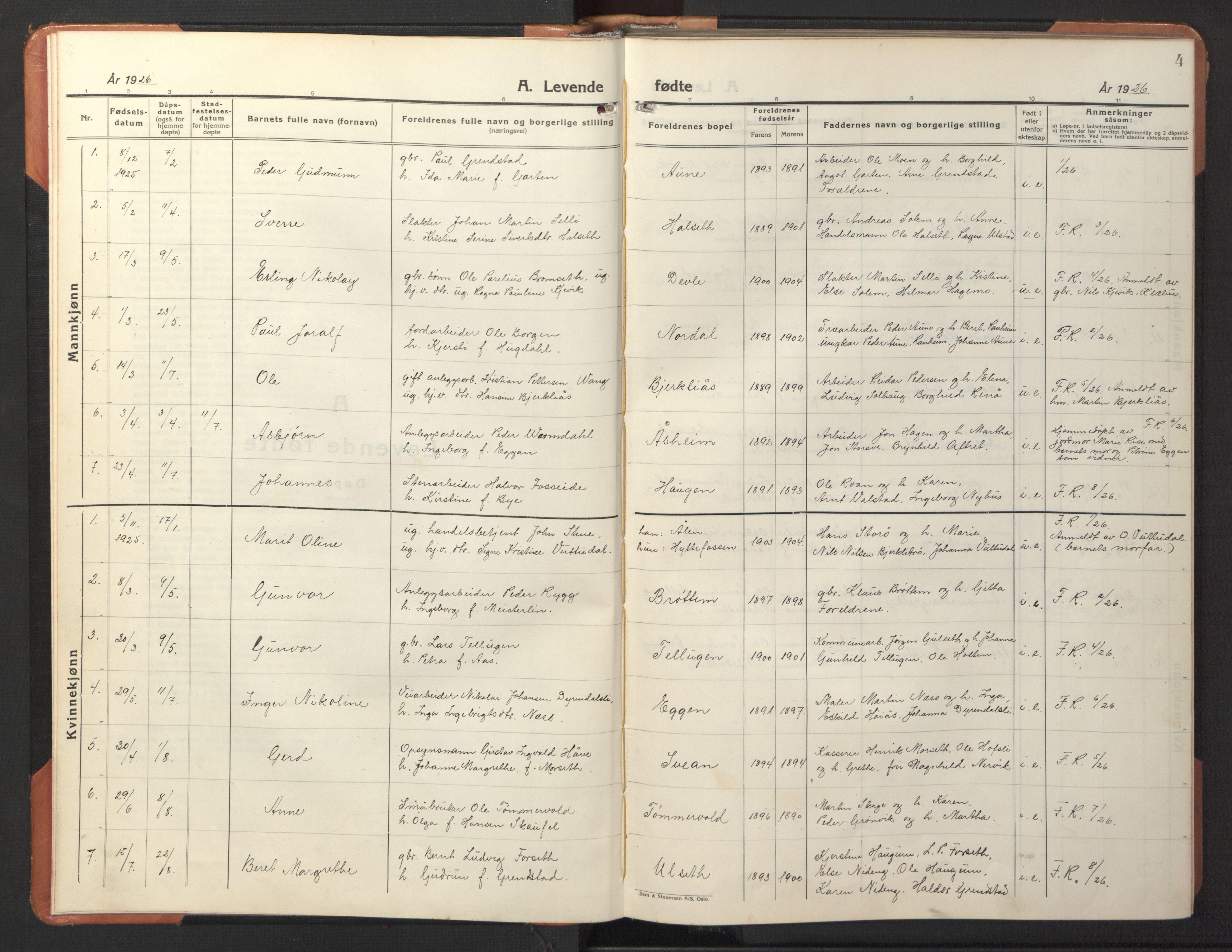 SAT, Ministerialprotokoller, klokkerbøker og fødselsregistre - Sør-Trøndelag, 618/L0454: Klokkerbok nr. 618C05, 1926-1946, s. 4