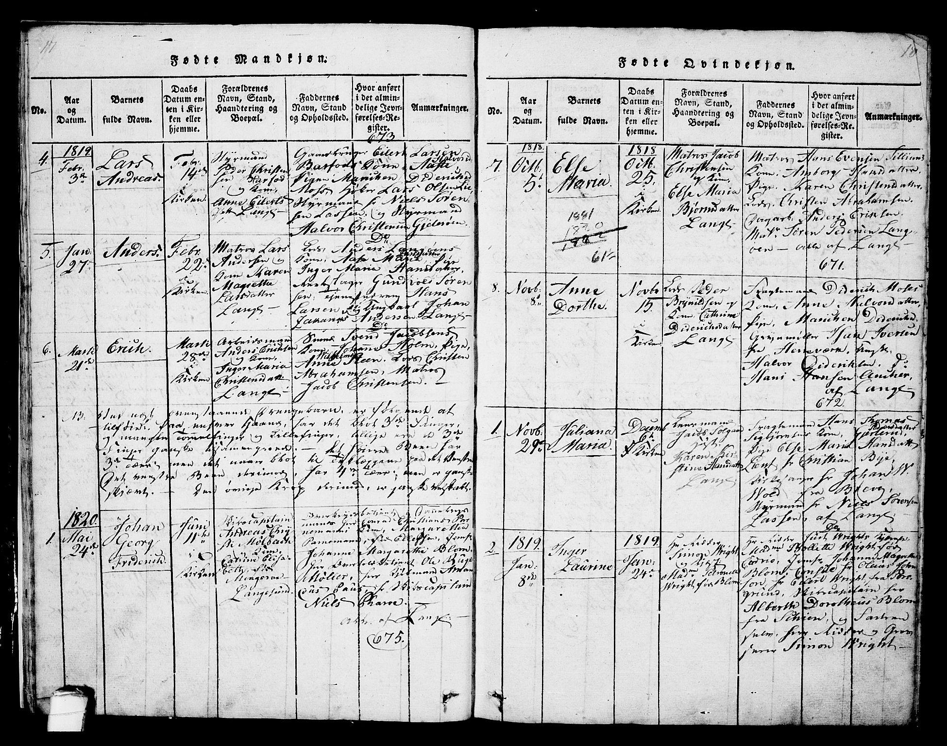 SAKO, Langesund kirkebøker, G/Ga/L0003: Klokkerbok nr. 3, 1815-1858, s. 17-18