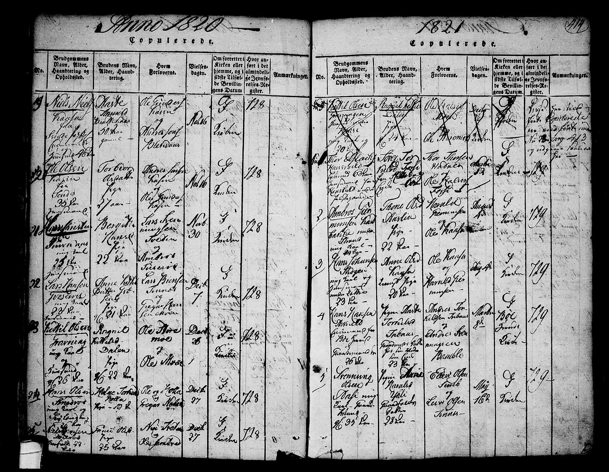 SAKO, Heddal kirkebøker, F/Fa/L0005: Ministerialbok nr. I 5, 1814-1837, s. 413-414