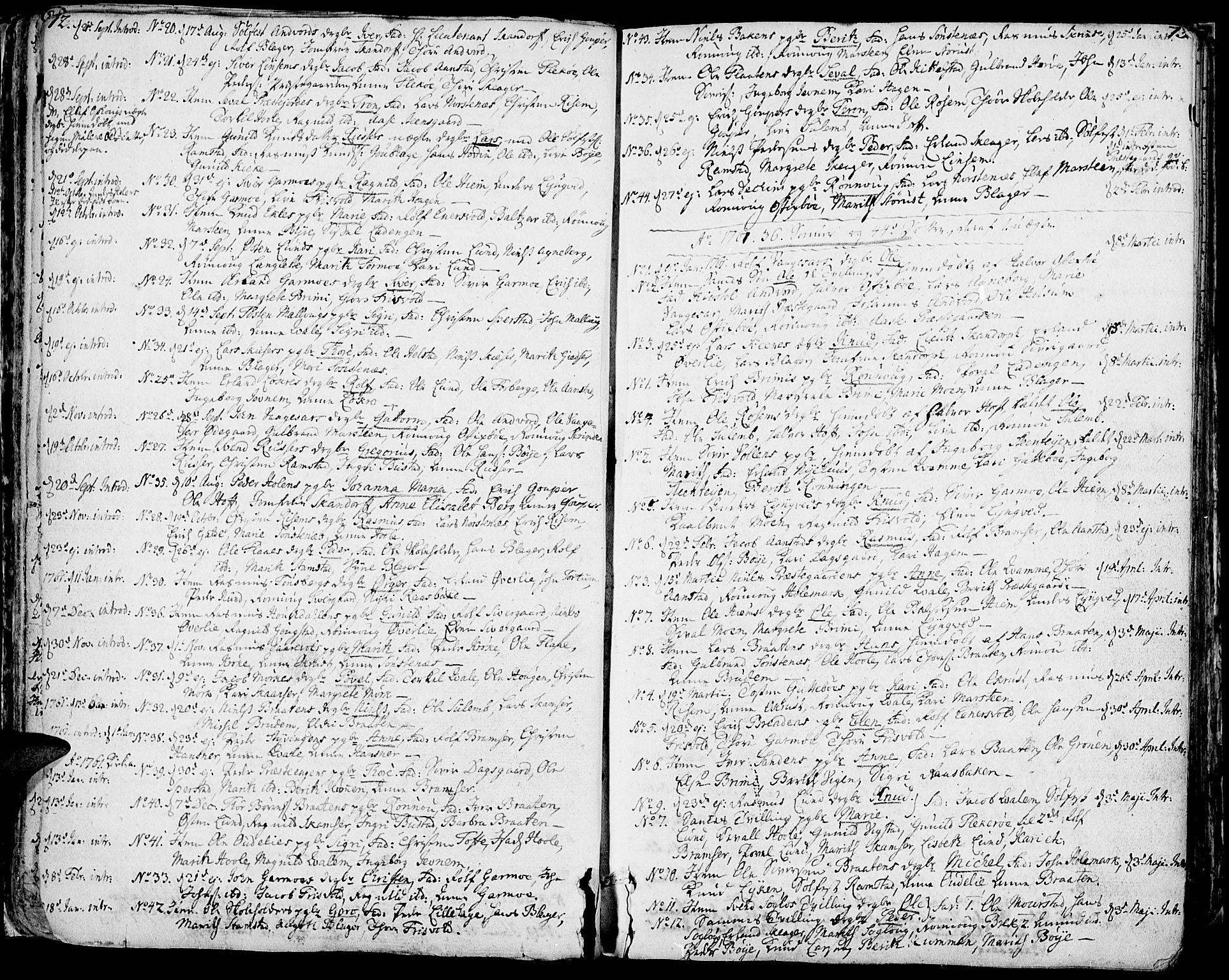 SAH, Lom prestekontor, K/L0002: Ministerialbok nr. 2, 1749-1801, s. 72-73