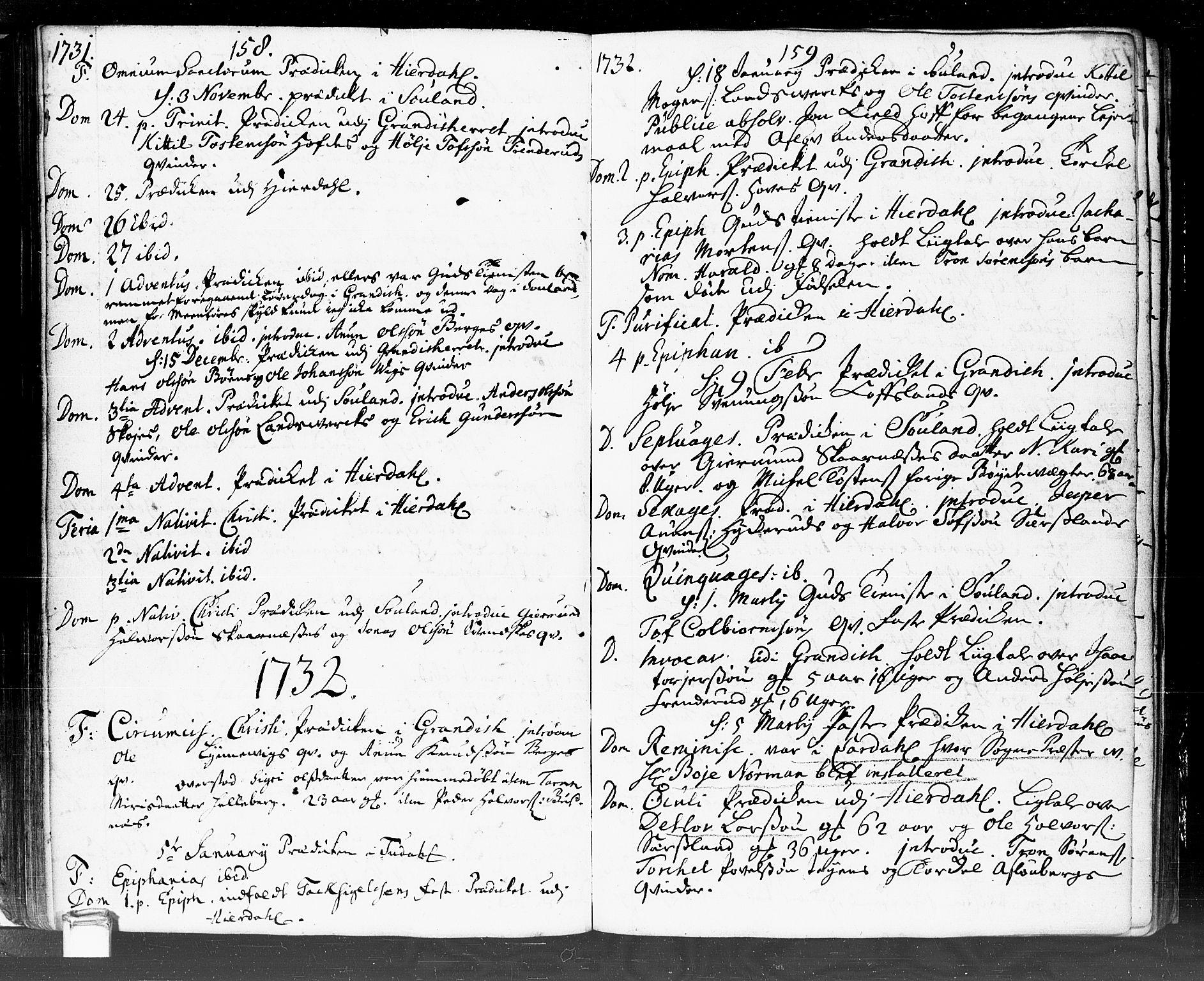 SAKO, Hjartdal kirkebøker, F/Fa/L0002: Ministerialbok nr. I 2, 1716-1754, s. 158-159