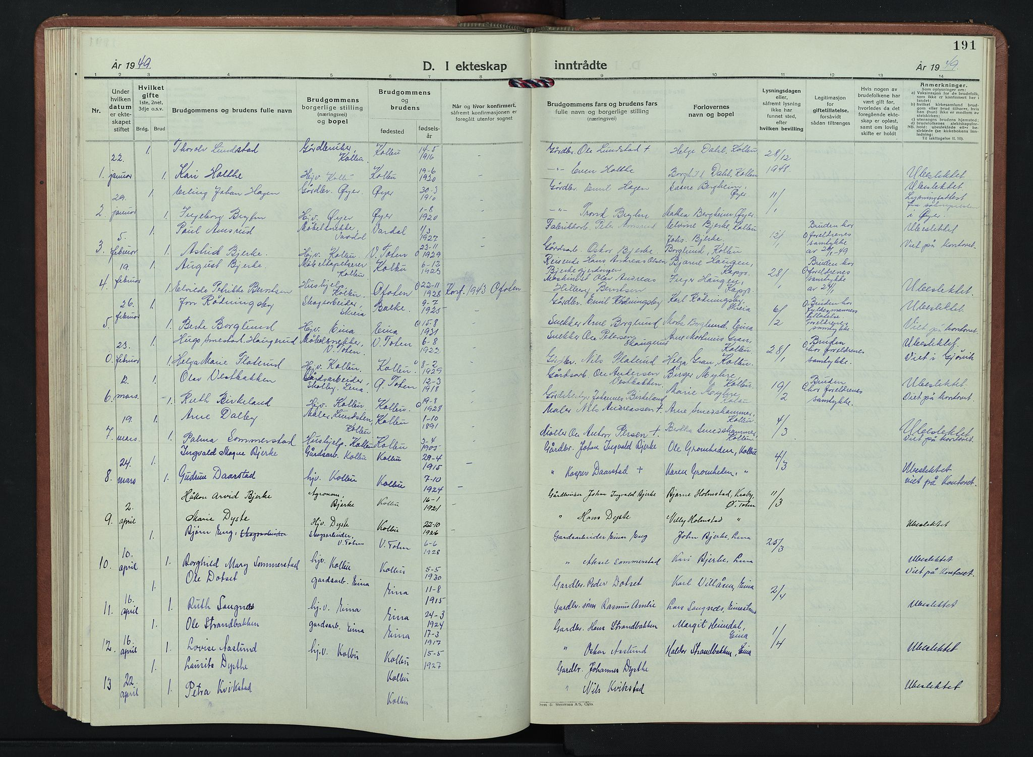 SAH, Kolbu prestekontor, Klokkerbok nr. 4, 1942-1953, s. 191