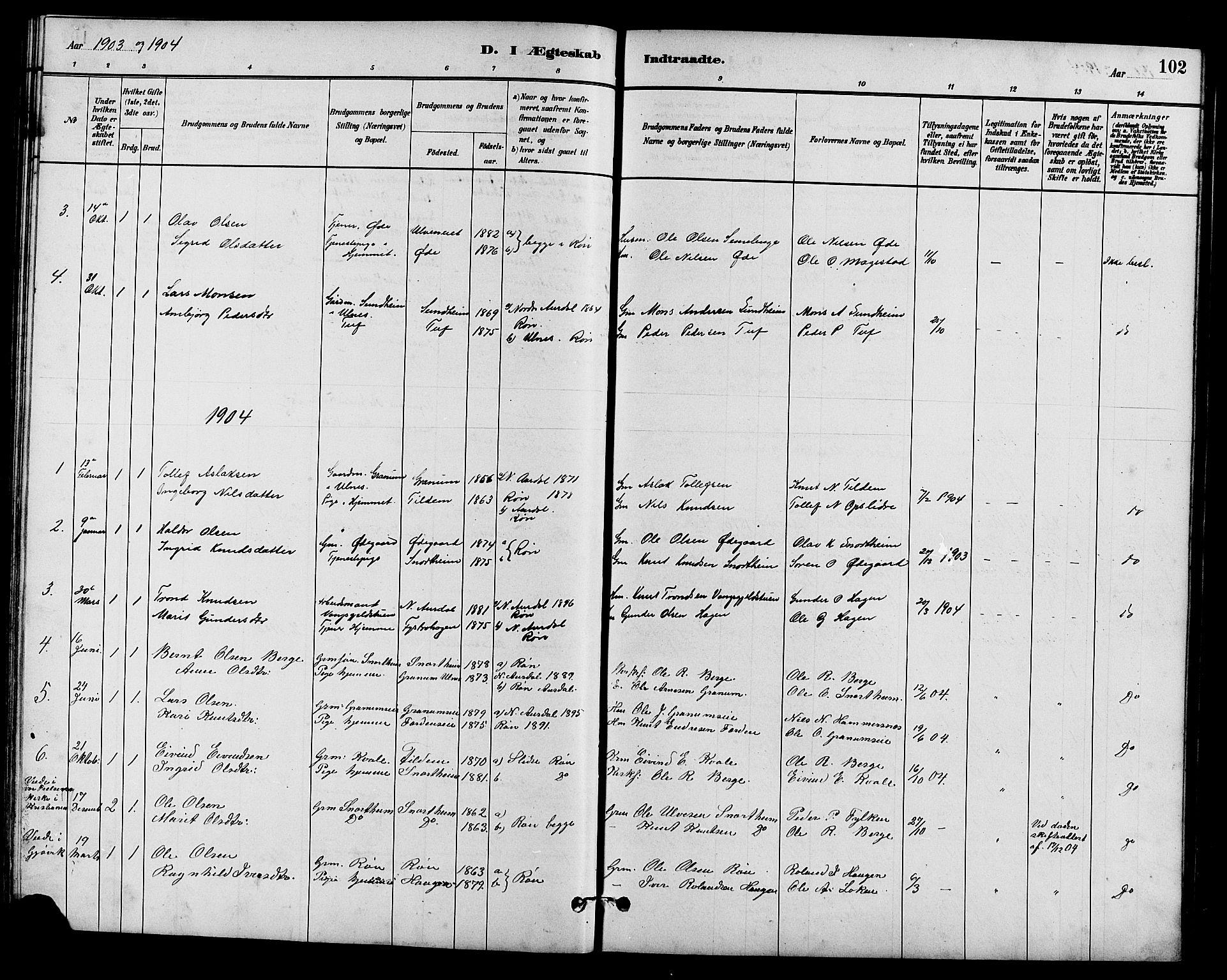 SAH, Vestre Slidre prestekontor, Klokkerbok nr. 5, 1881-1913, s. 102