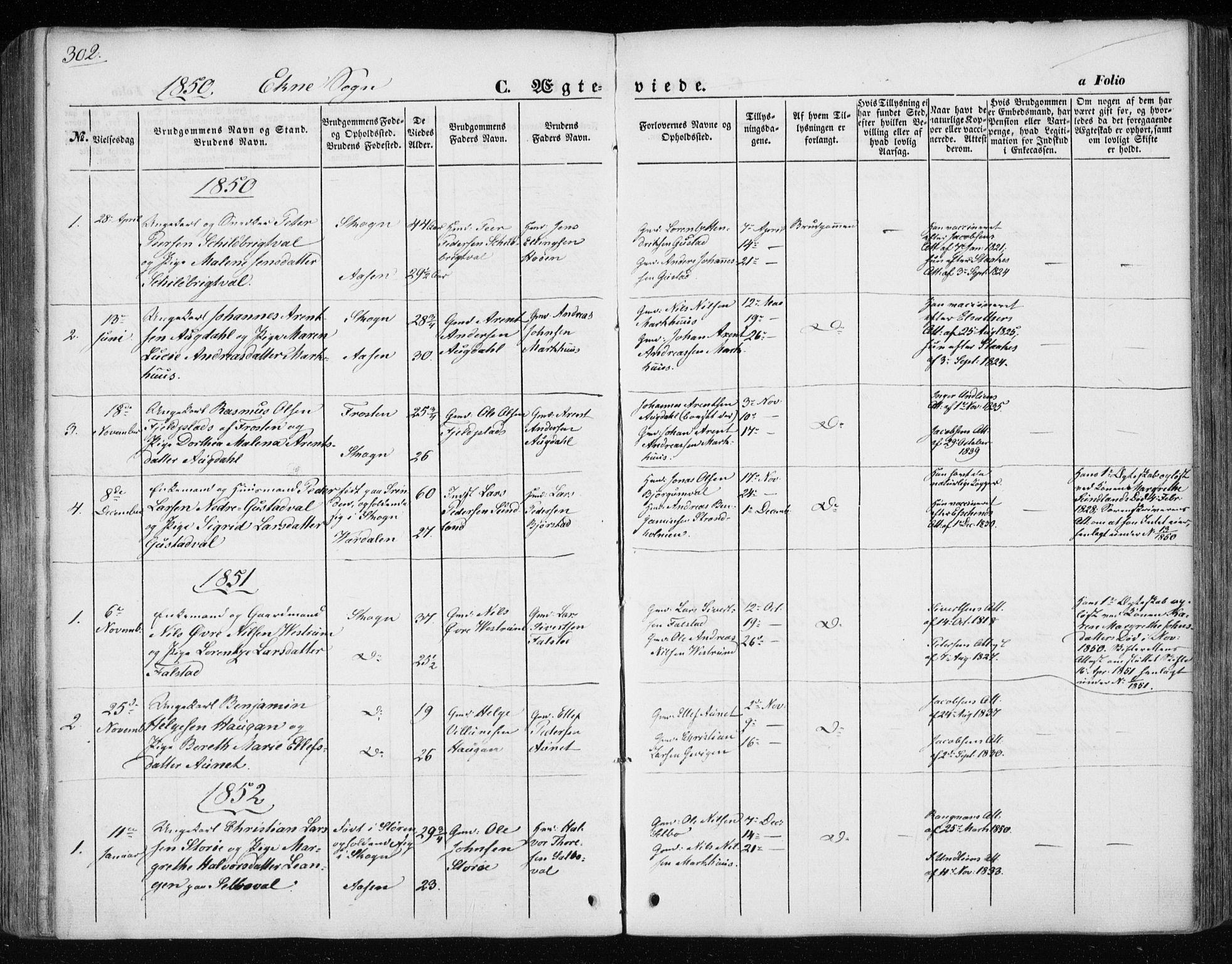 SAT, Ministerialprotokoller, klokkerbøker og fødselsregistre - Nord-Trøndelag, 717/L0154: Ministerialbok nr. 717A07 /3, 1850-1862, s. 302