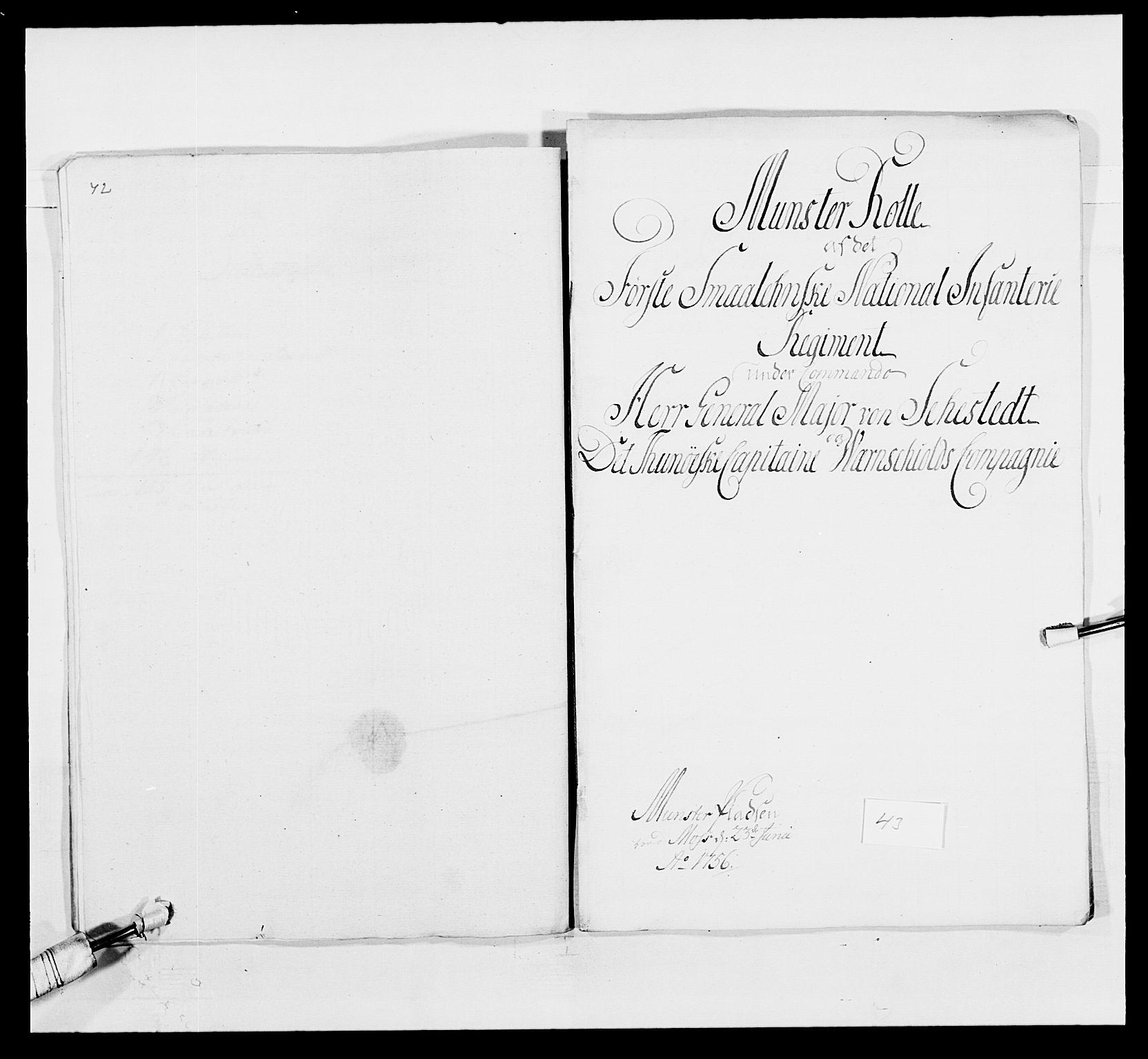 RA, Kommanderende general (KG I) med Det norske krigsdirektorium, E/Ea/L0495: 1. Smålenske regiment, 1732-1763, s. 568