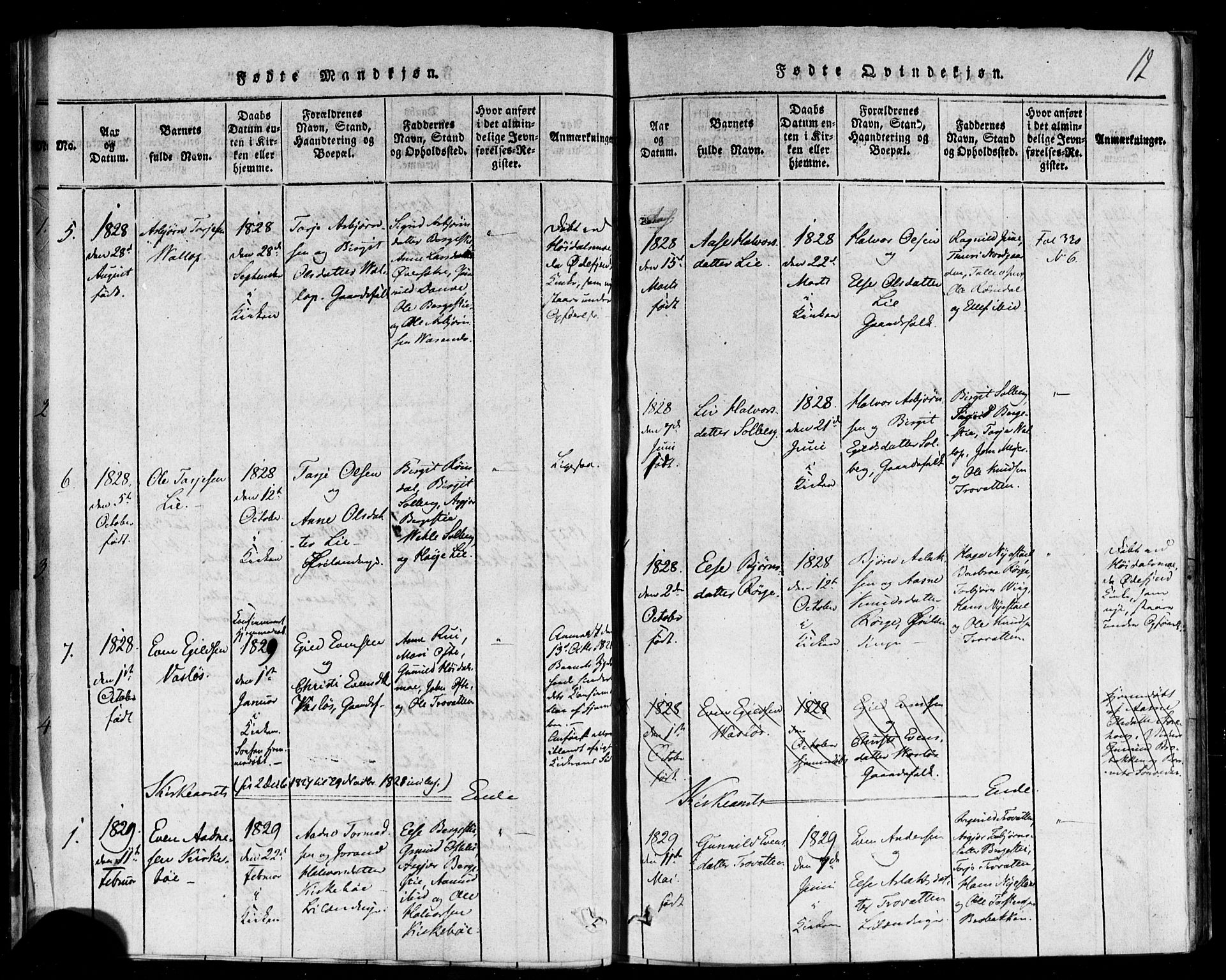 SAKO, Rauland kirkebøker, F/Fa/L0002: Ministerialbok nr. 2, 1815-1860, s. 12