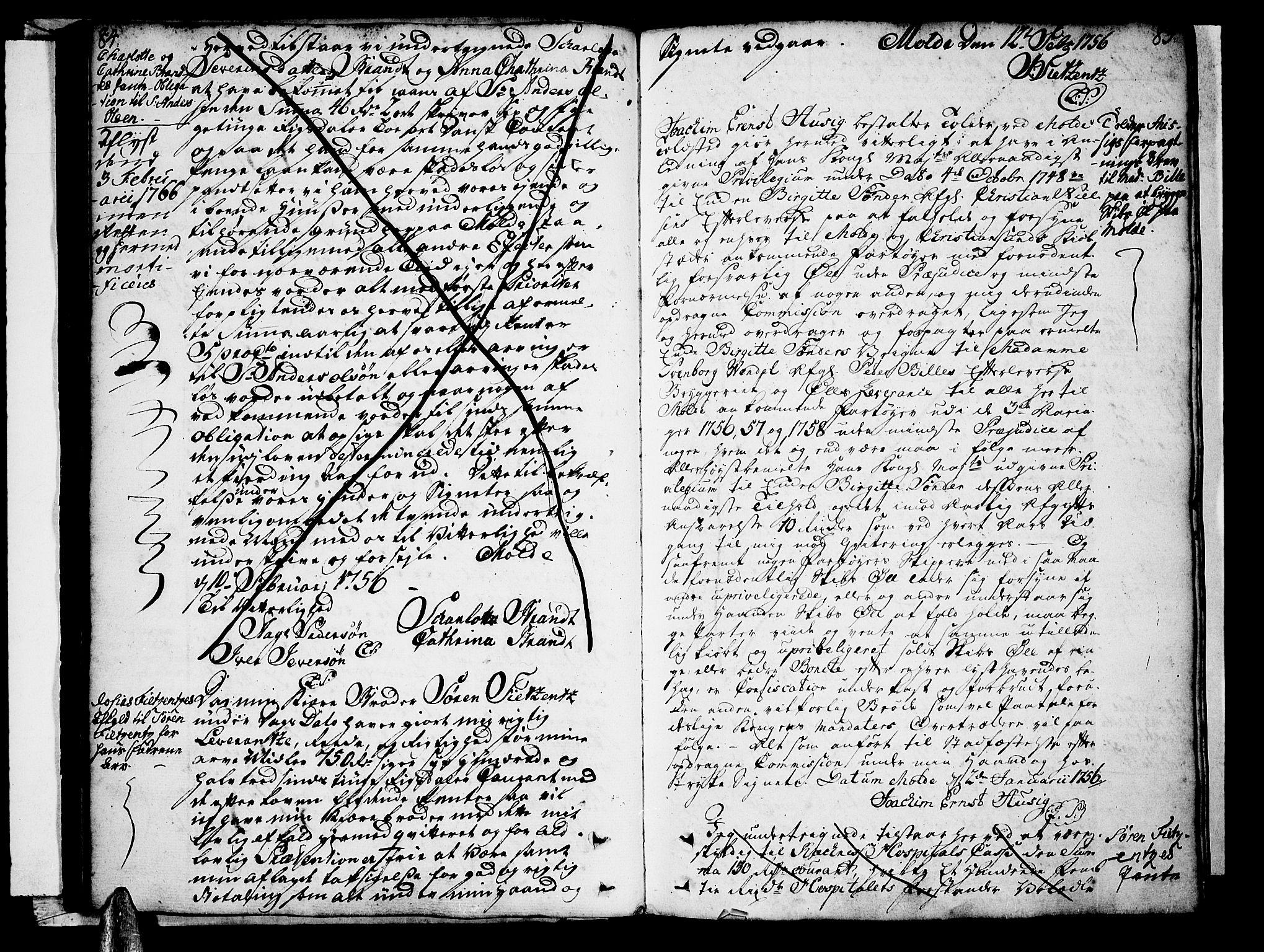 SAT, Molde byfogd, 2/2C/L0001: Pantebok nr. 1, 1748-1823, s. 84-85
