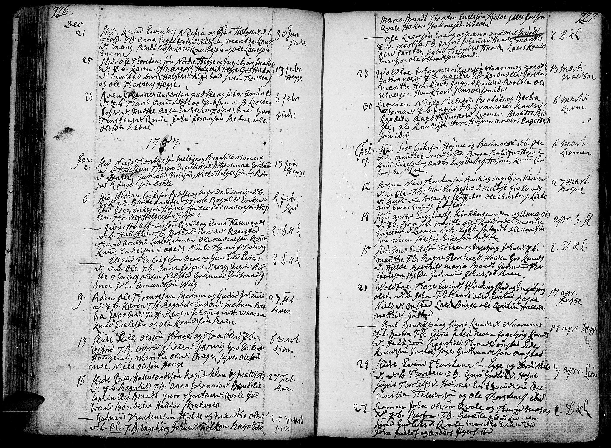 SAH, Slidre prestekontor, Ministerialbok nr. 1, 1724-1814, s. 226-227