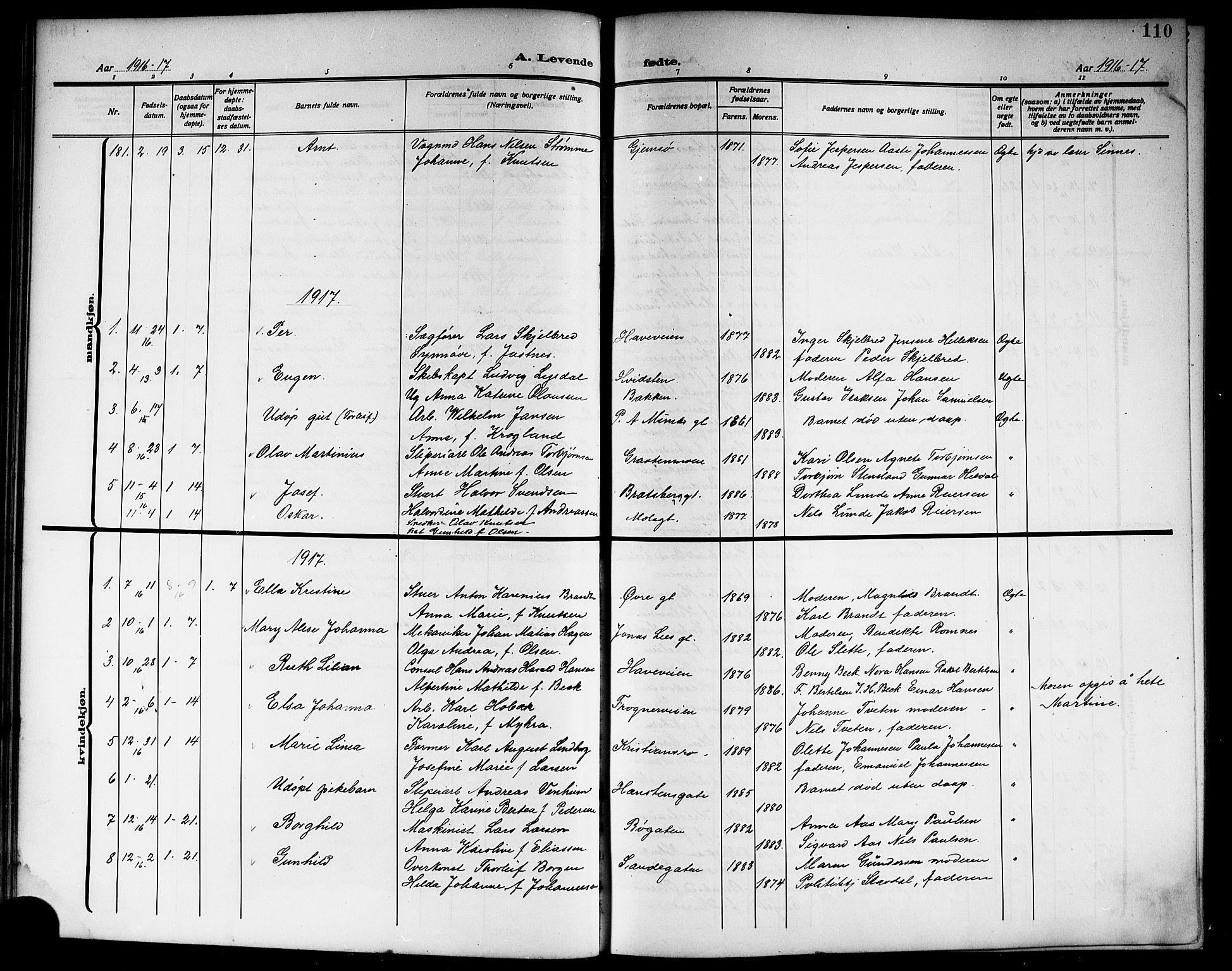 SAKO, Skien kirkebøker, G/Ga/L0009: Klokkerbok nr. 9, 1910-1920, s. 110